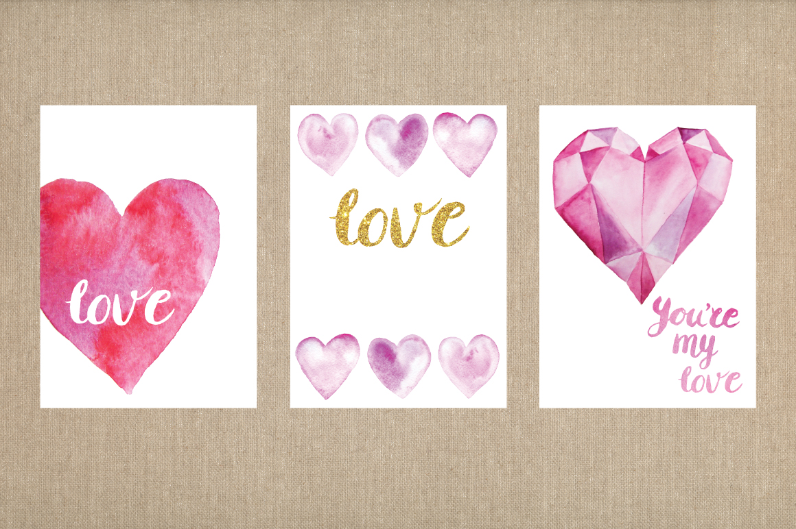 Watercolor Valentine's Day BUNDLE example image 16