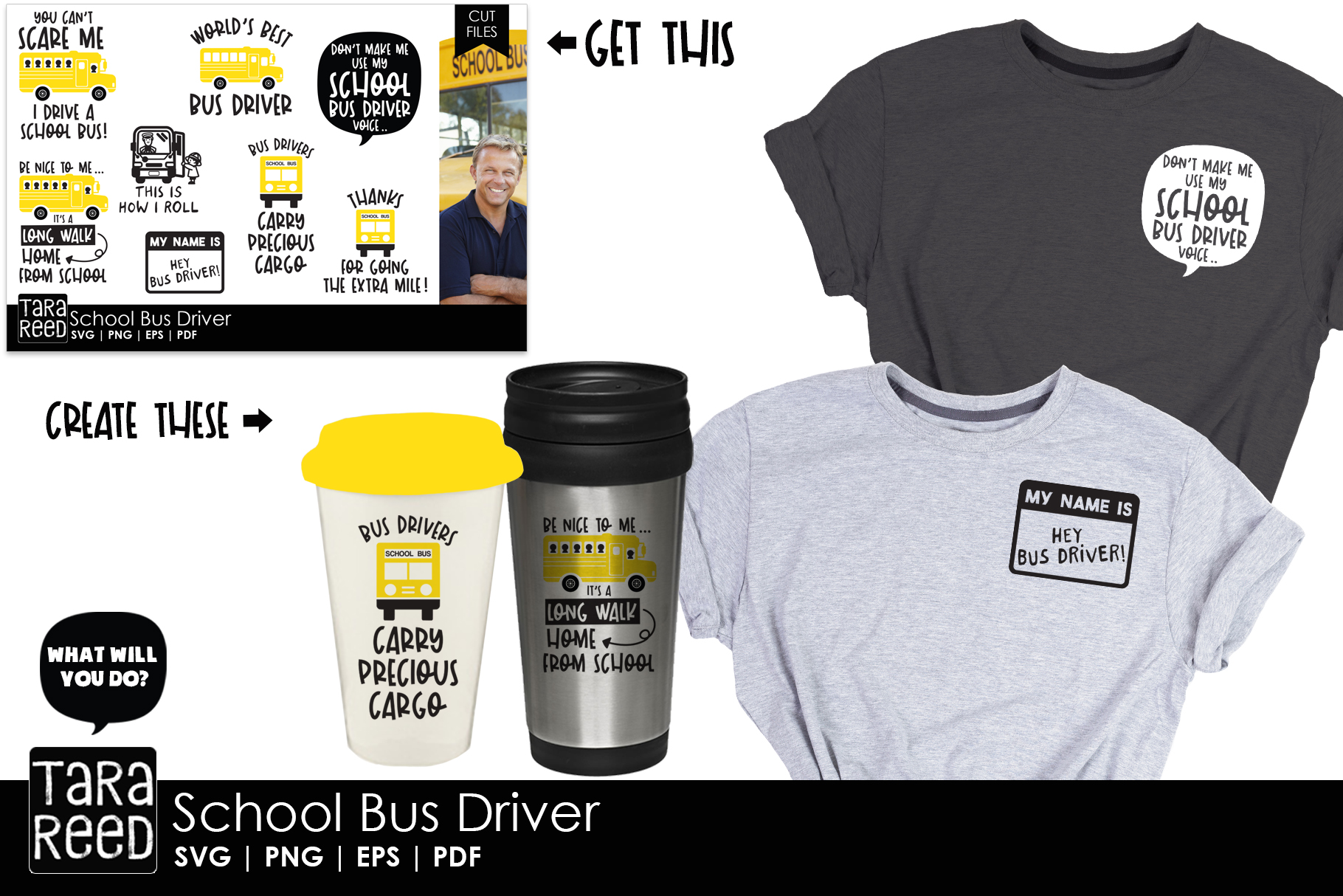 School Bus Driver SVG and Cut Files for Crafters example image 3