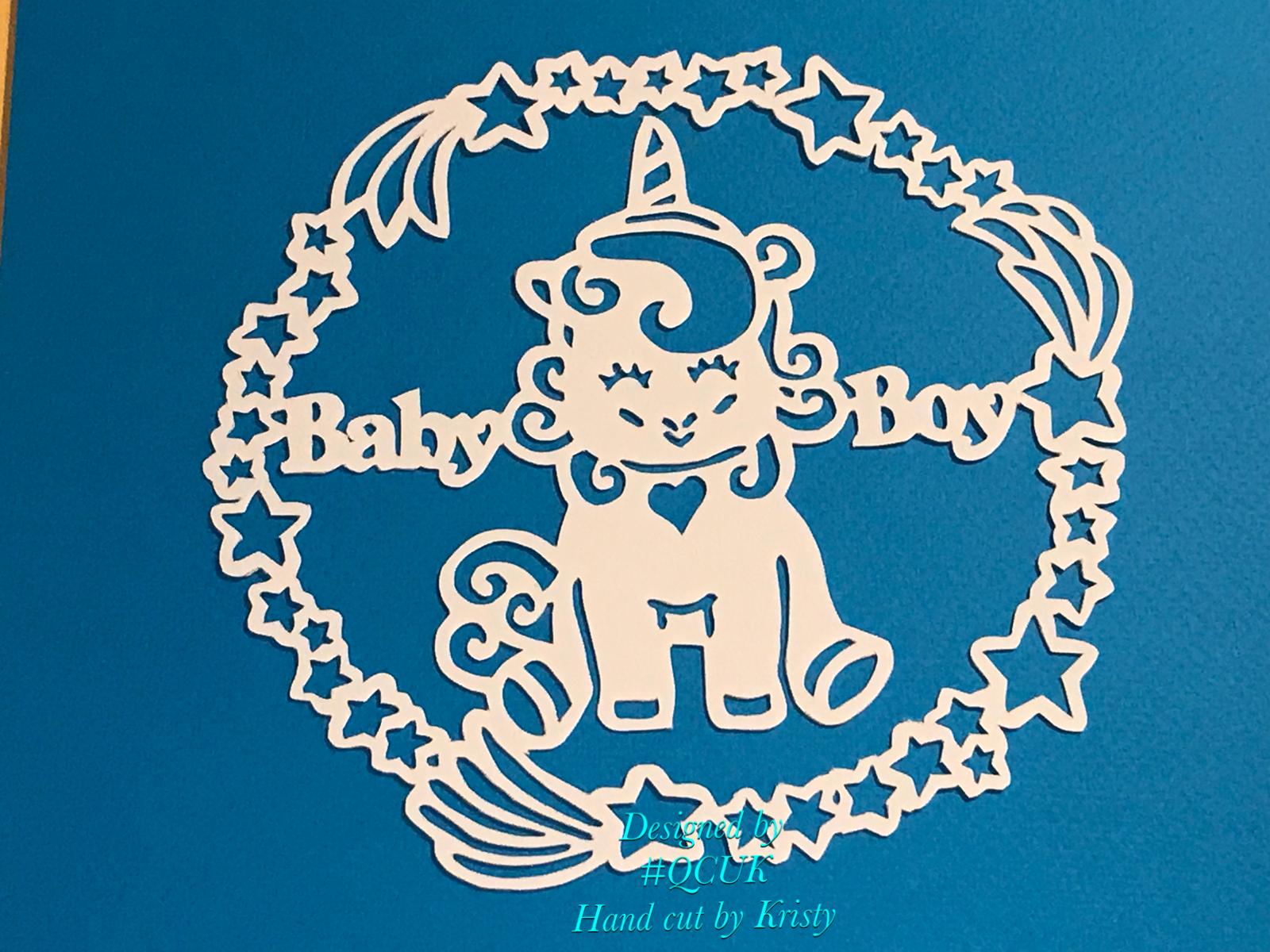 3 x UNICORN Baby Papercutting Templates example image 3