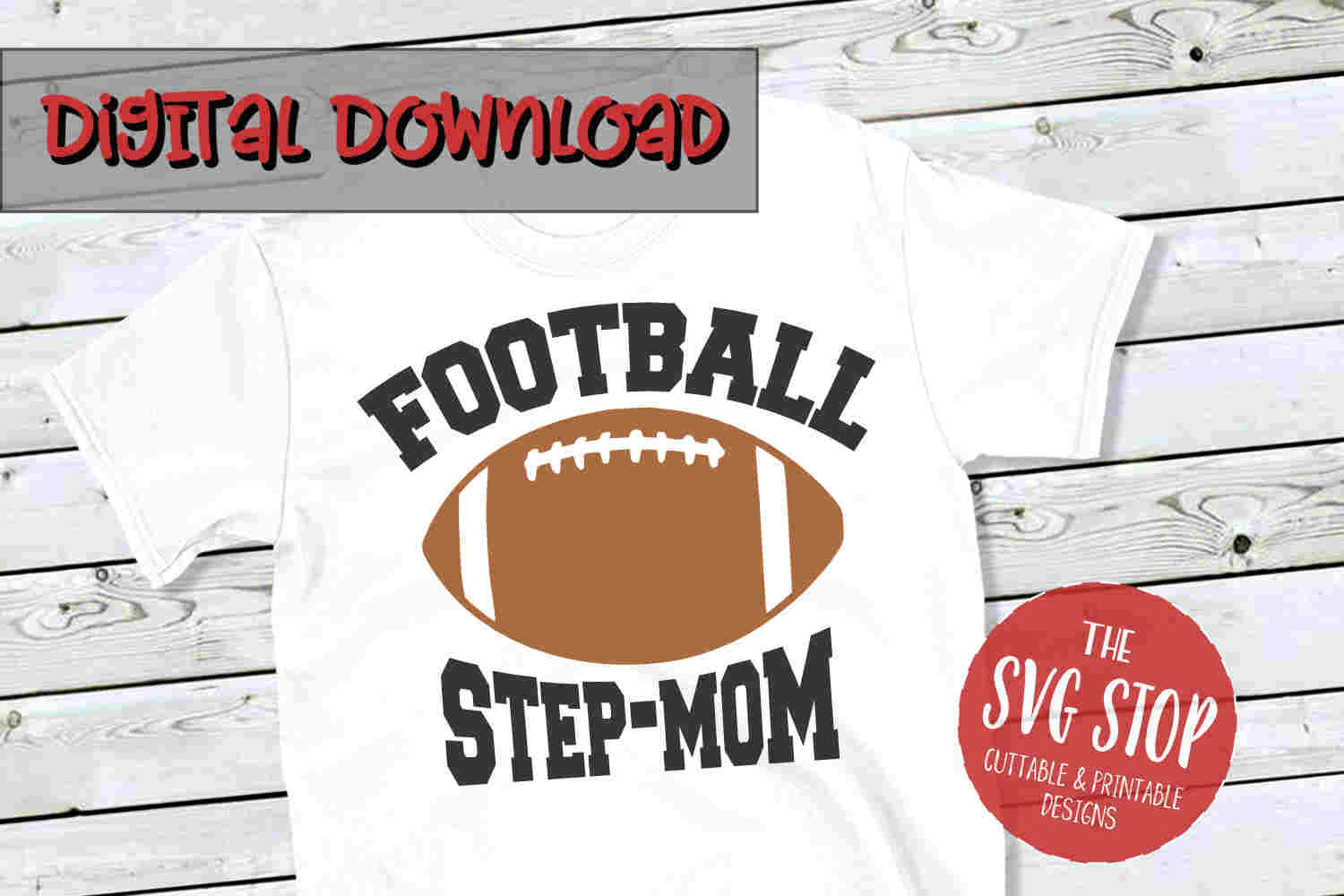 Football Stepmom -SVG, PNG, DXF example image 1