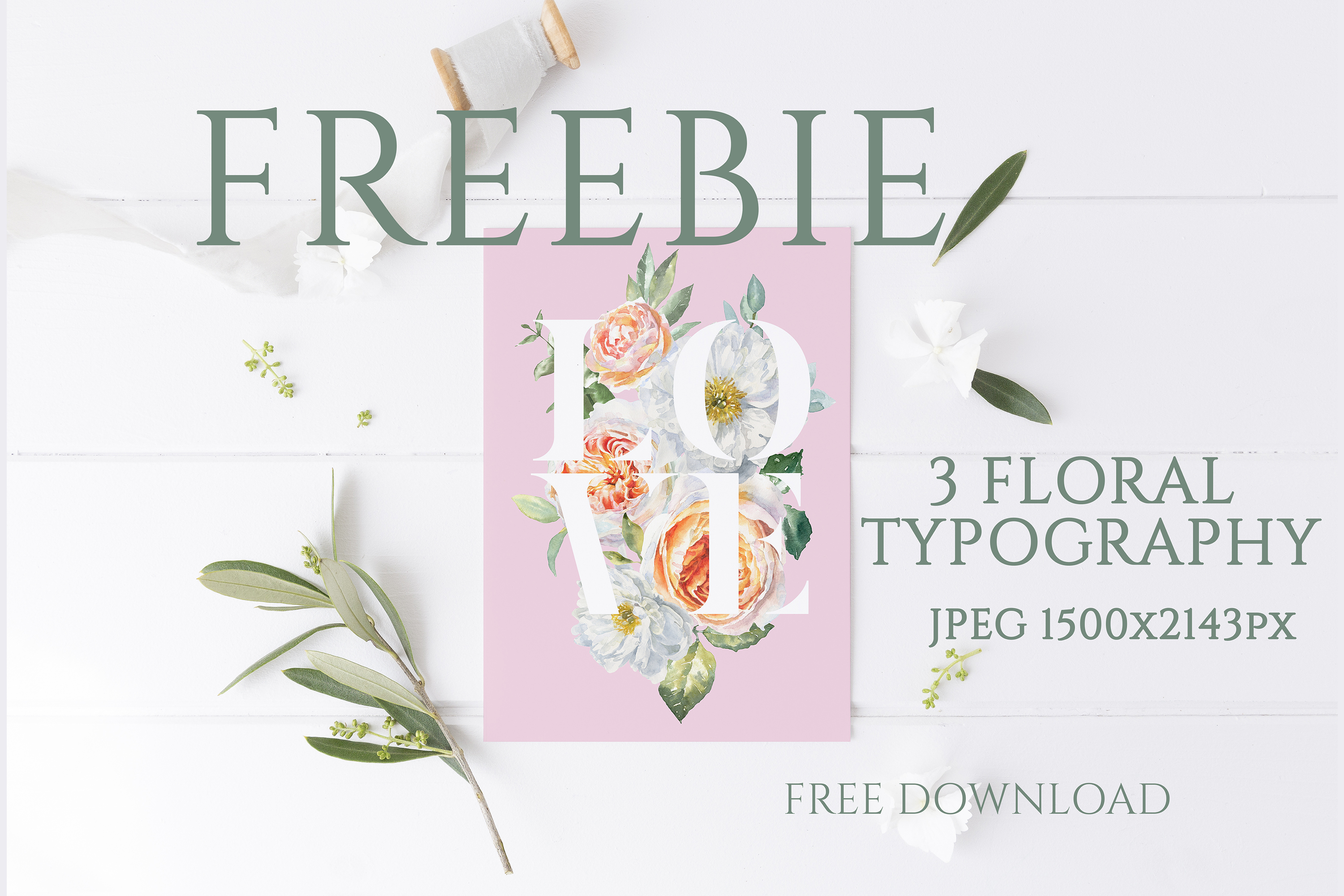 FREEBIE Floral Typography Free Botanical graphics example image 1
