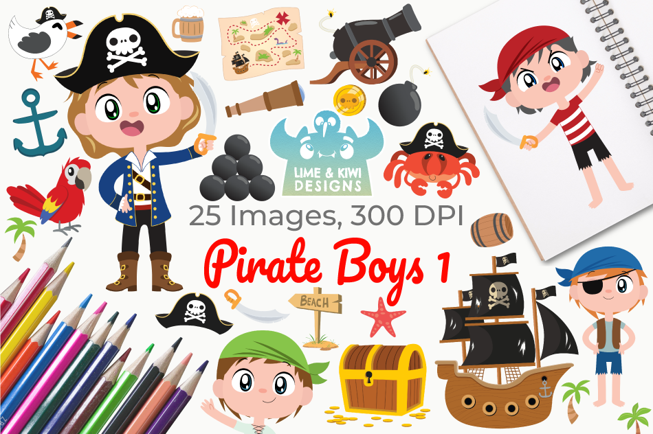 Pirate Boys 1 Clipart, Instant Download Vector Art example image 1