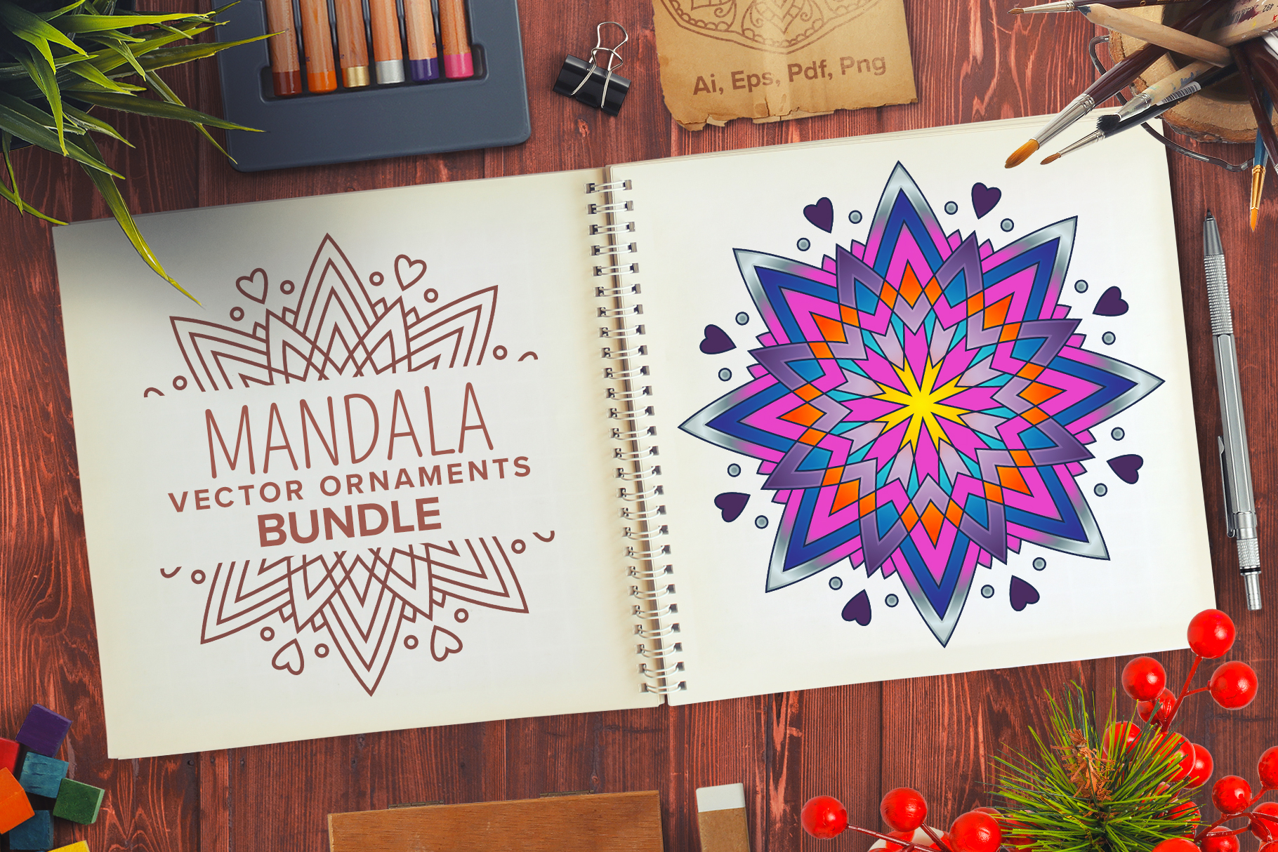 Mandala Vector Ornaments Bundle example image 1