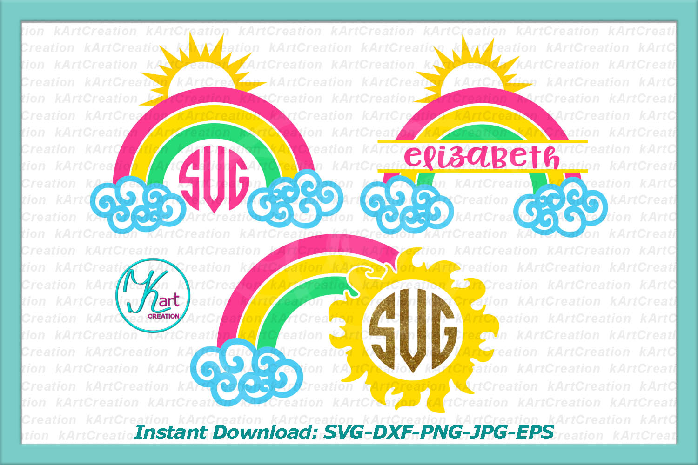 Rainbow Sun Circle Split monograms bundle svg dxf clipart example image 1