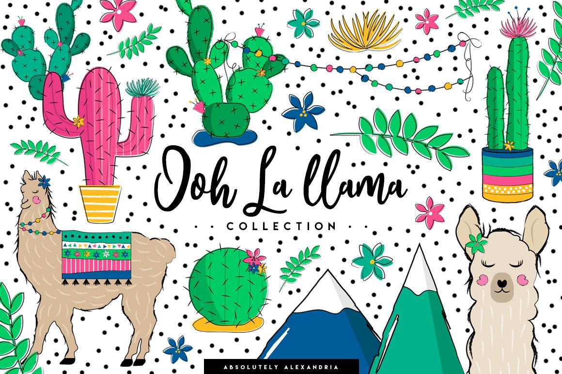 Ooh La llama Clipart Illustrations & Seamless Digital Papers example image 1