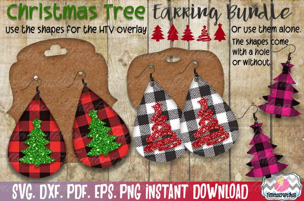 Christmas Tree Earring Template Bundle, Faux leather Earring example image 3