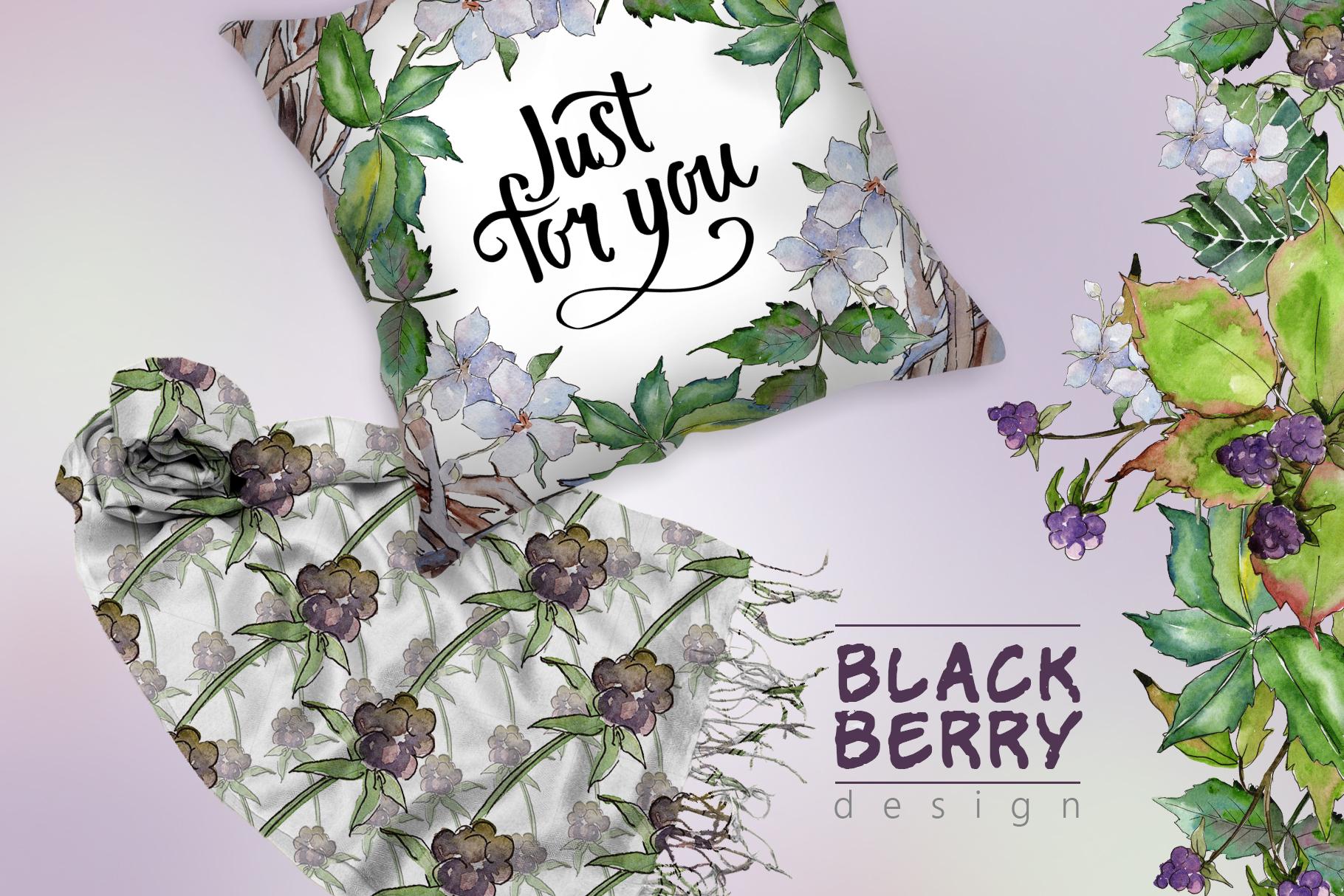 Sweetly blackberry JPG watercolor set  example image 7