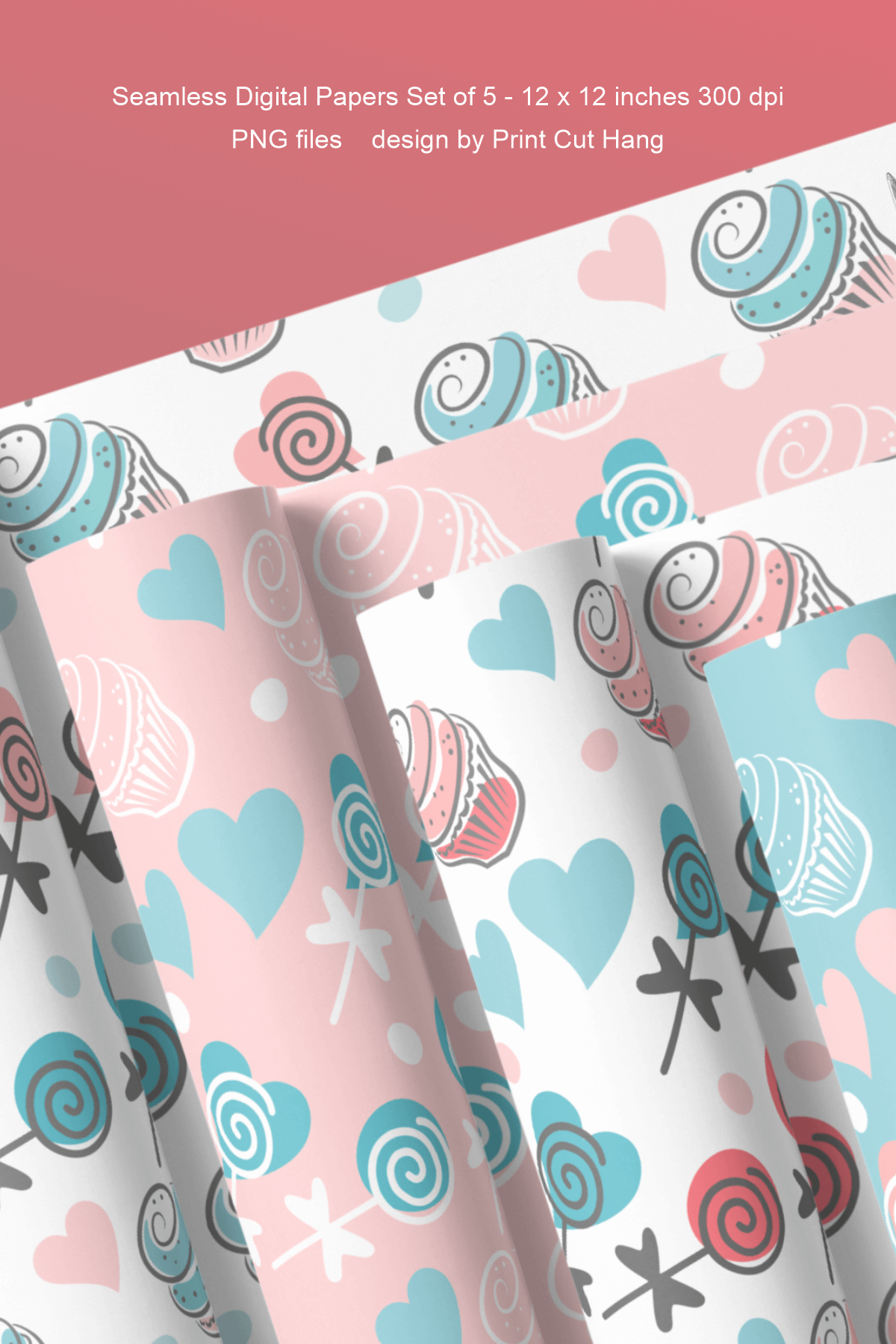 Cupcakes and Donuts Seamless Scrapbooking Papers 10 PNG file example image 14