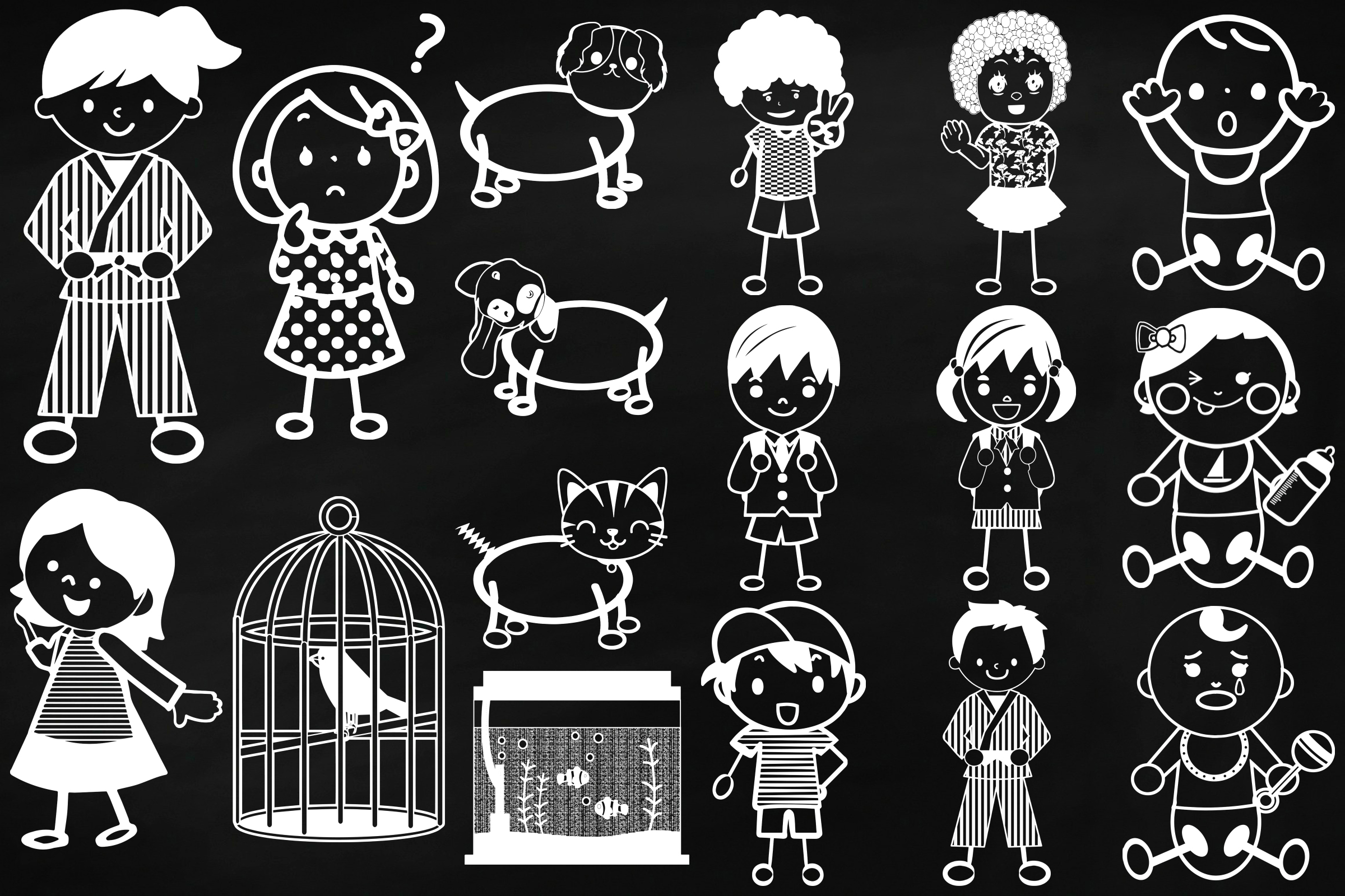 Chalk Stick People of Many Kinds Clip Art example image 3