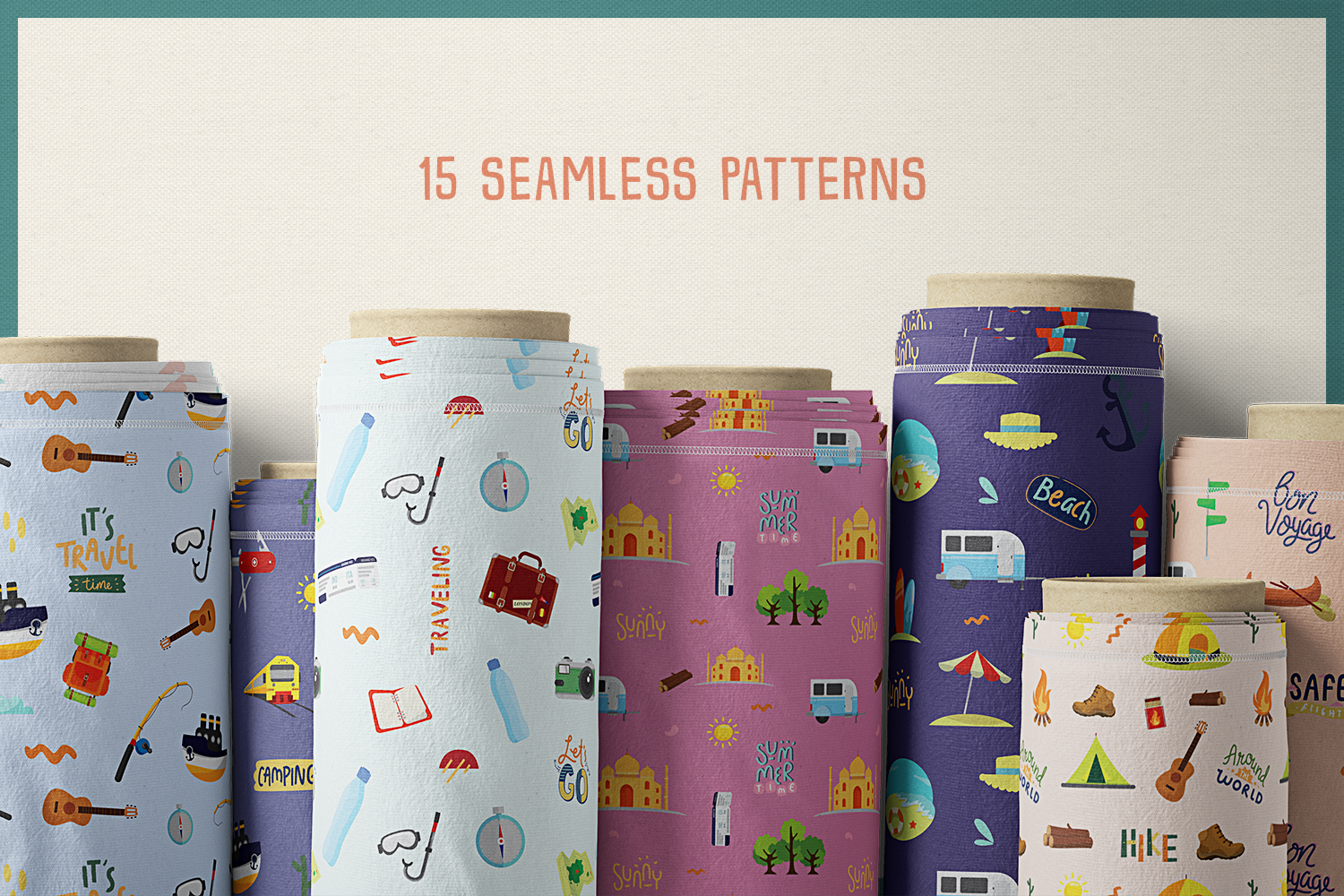 85 Traveling Vector Clipart & Seamless Patterns example image 7