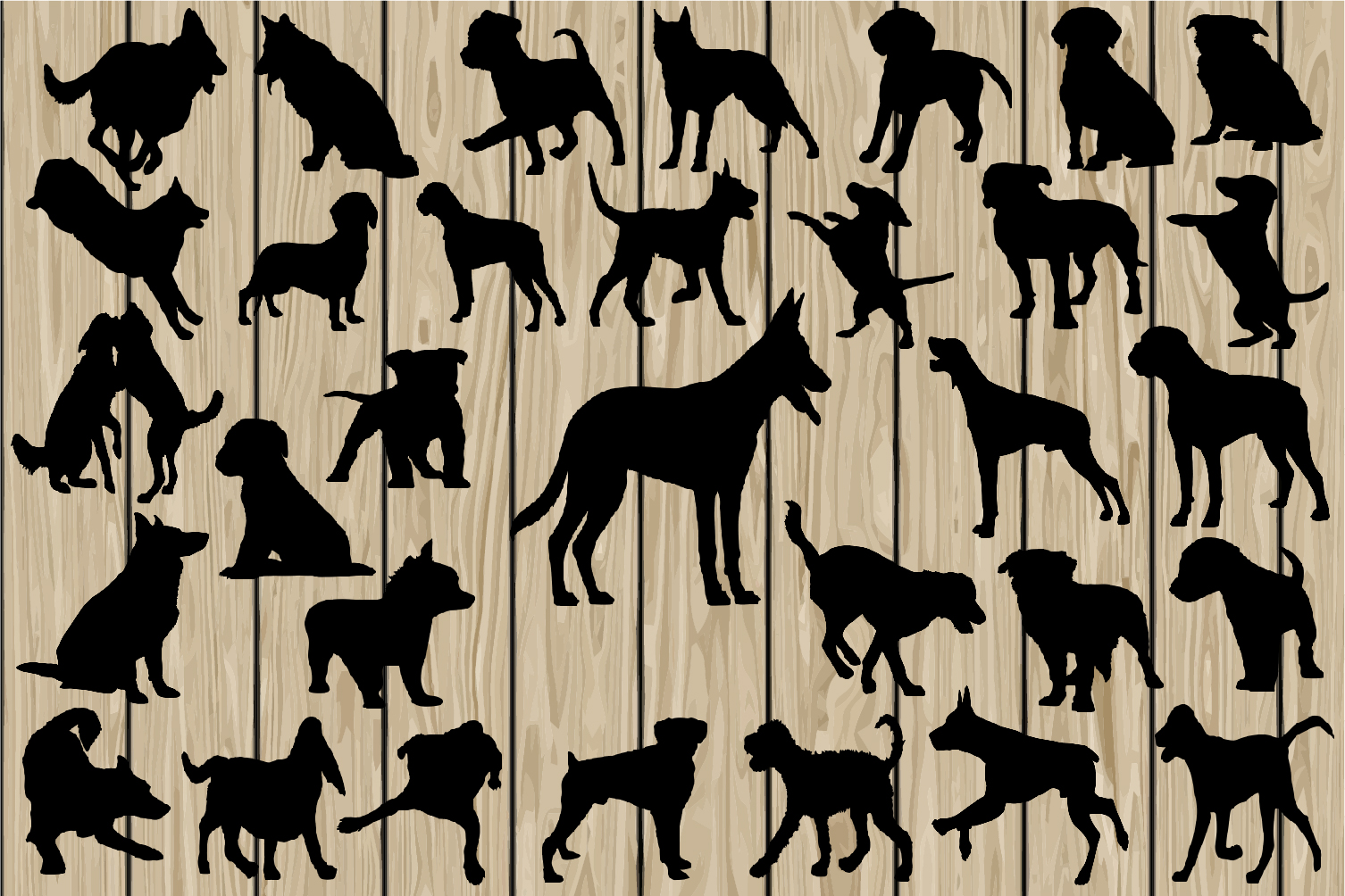 32 Dog SVG Cutting files, Mini Package, Dog Silhouette Clipart, Dog DXF, Dog Vector, Dog EPS, Dog Png, Dog Printable, Pet Svg, Puppy Svg. example image 1