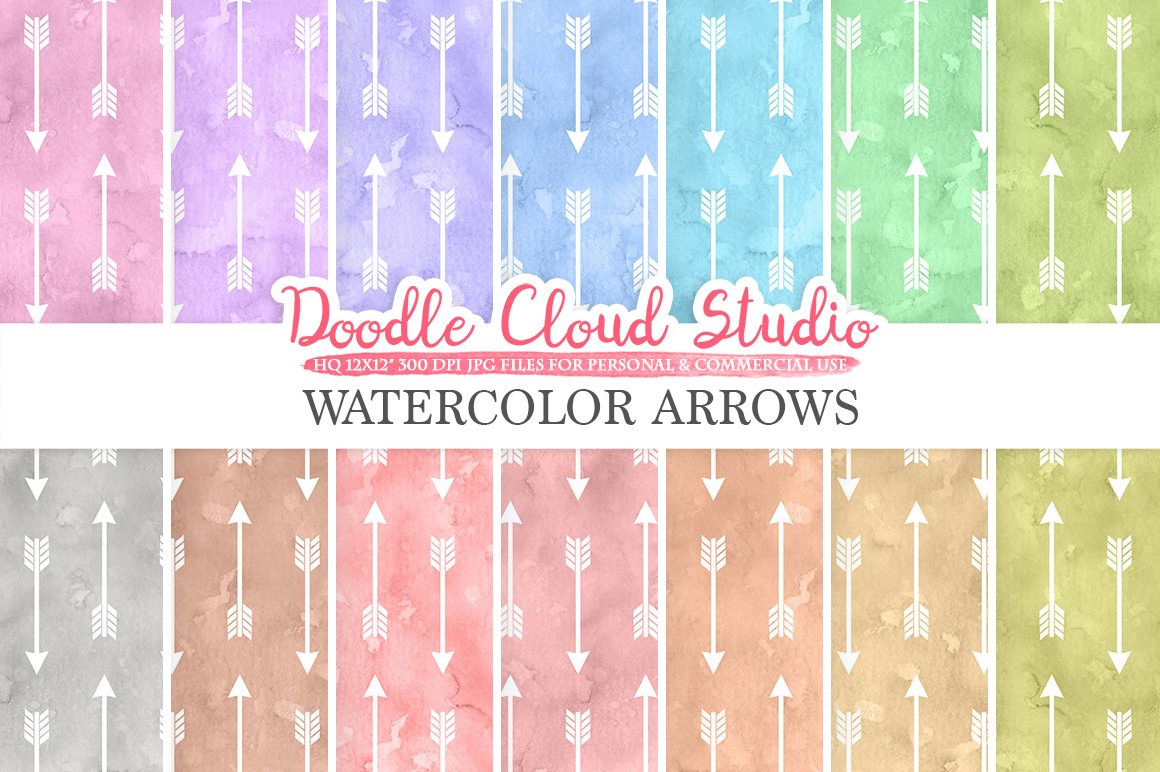 Watercolor Arrows digital paper, Tribal Arrow patterns, pastel colors watercolor background, Instant Download for Personal & Commercial Use example image 1