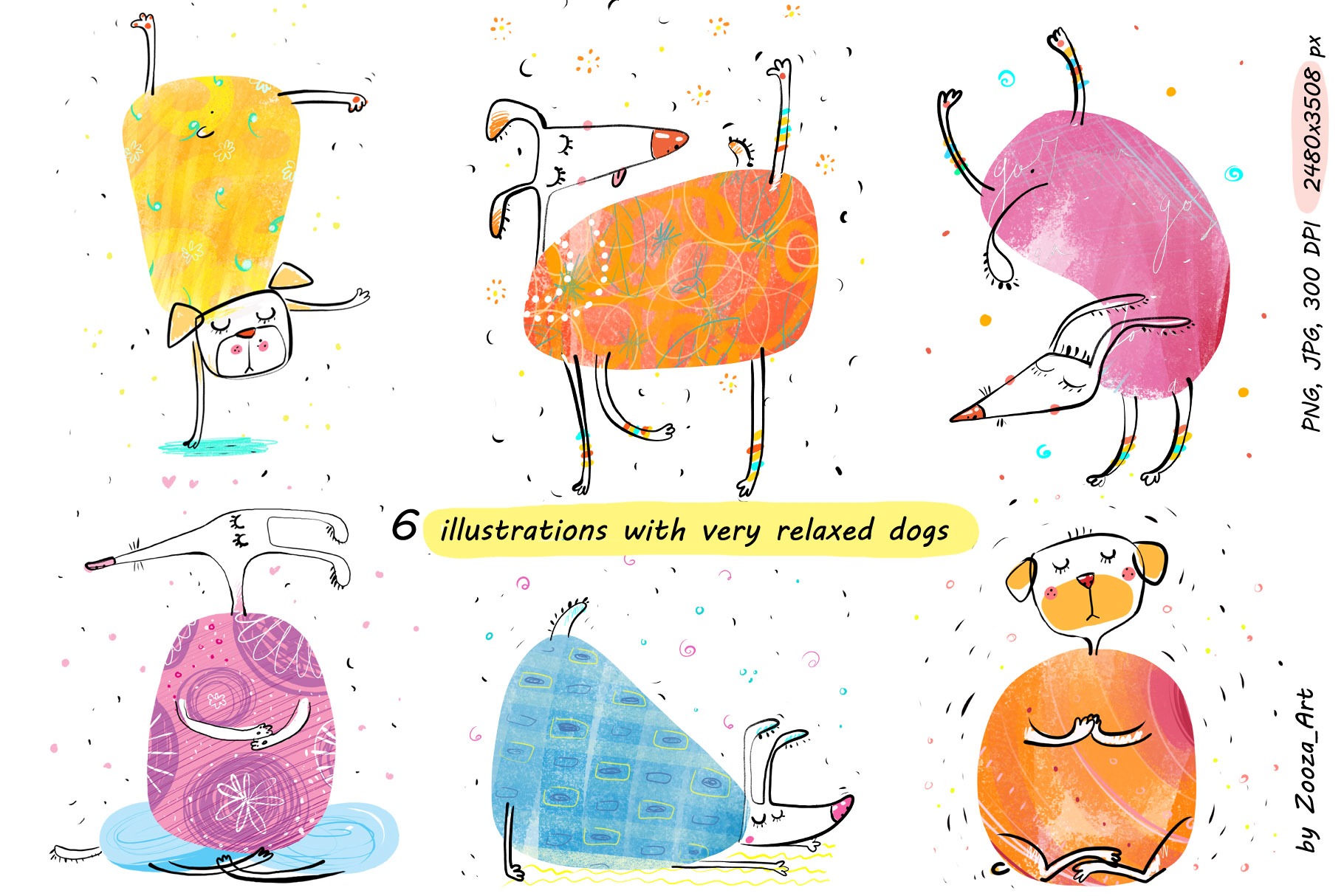 Yoga Dogs - 6 illustrations example image 2