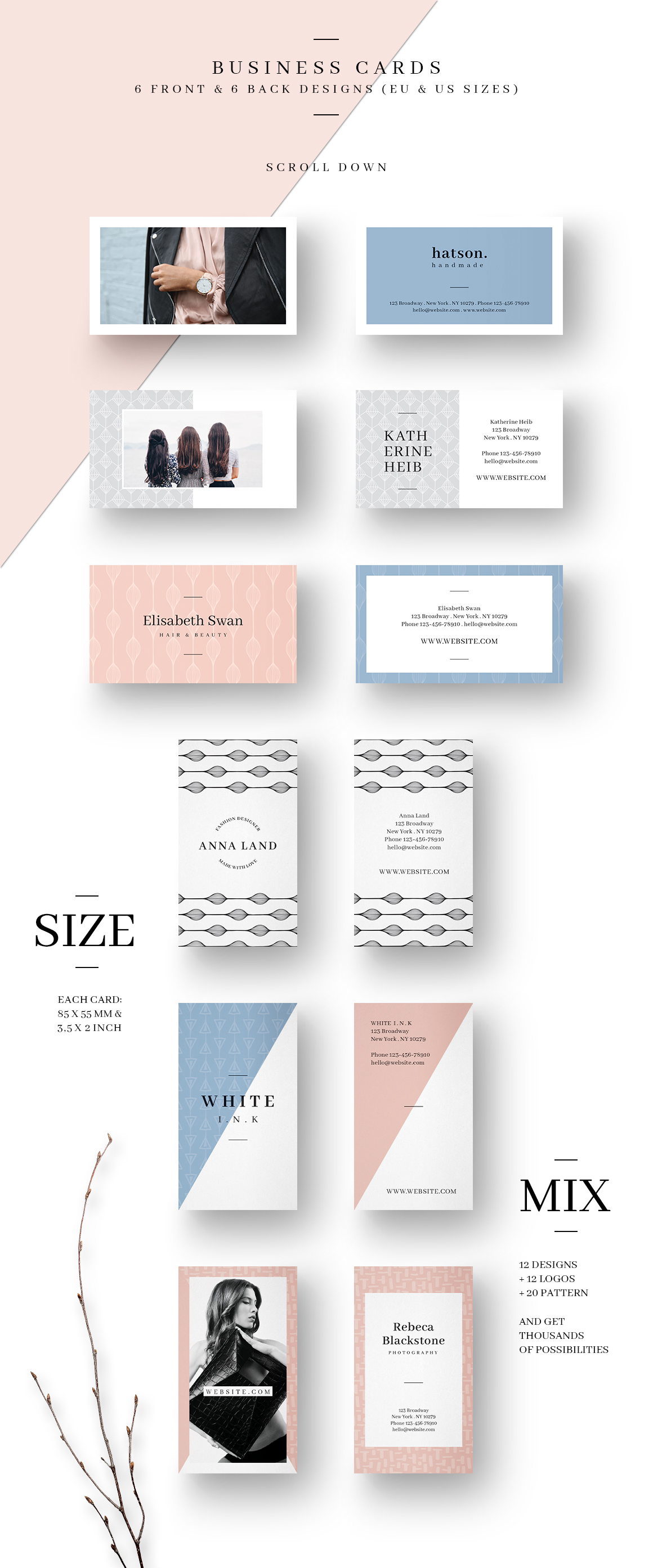MALINA Business Cards + Logos + Pattern example image 5