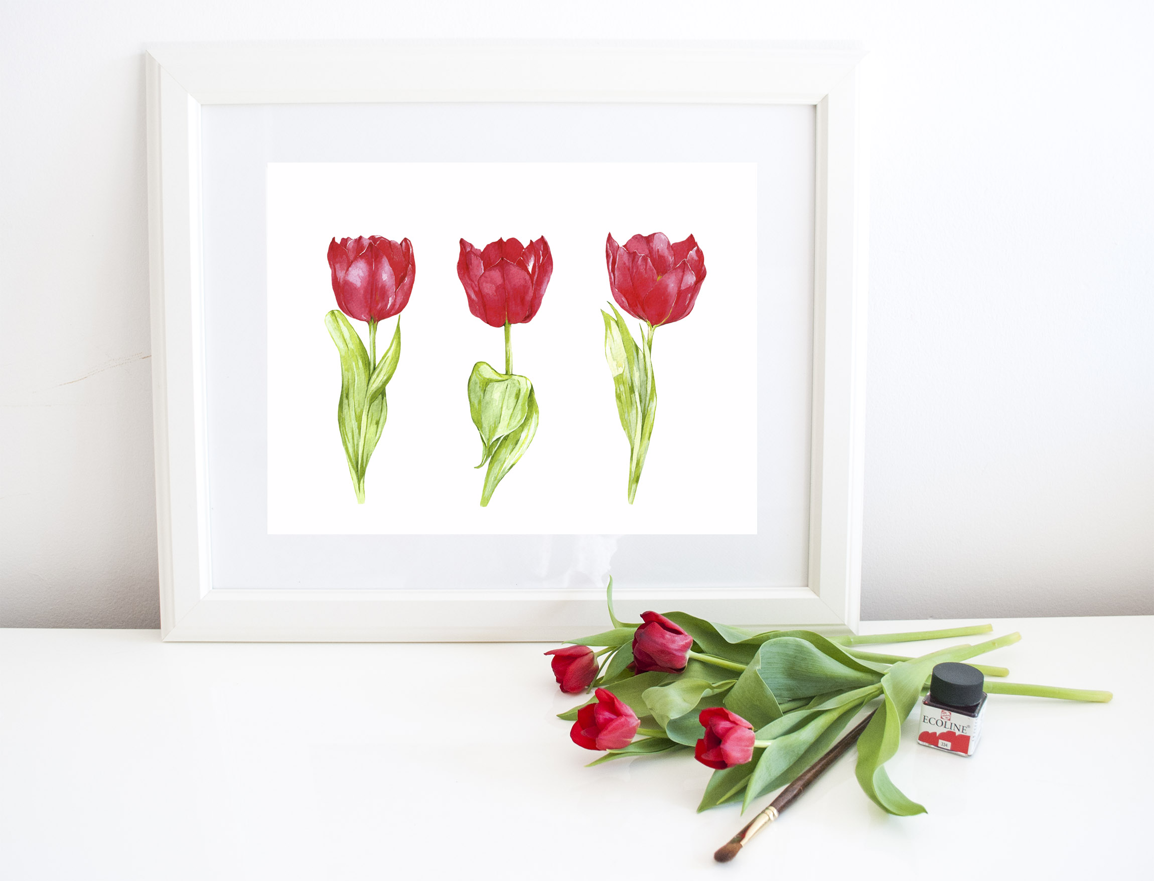 Watercolor hand- painted clipart. red ,yellow tulips, example image 3