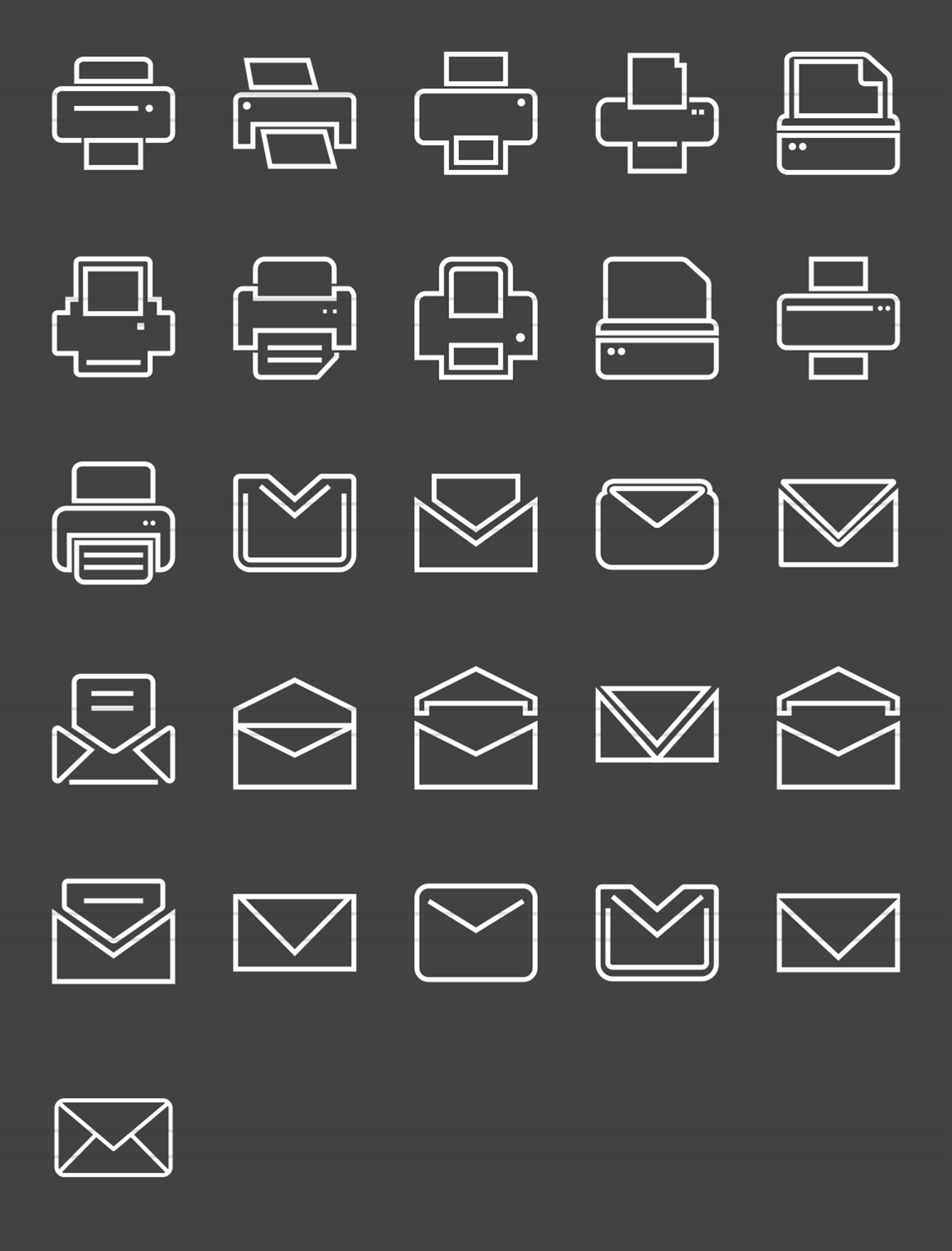 26 Email & Printer Line Inverted Icons example image 2