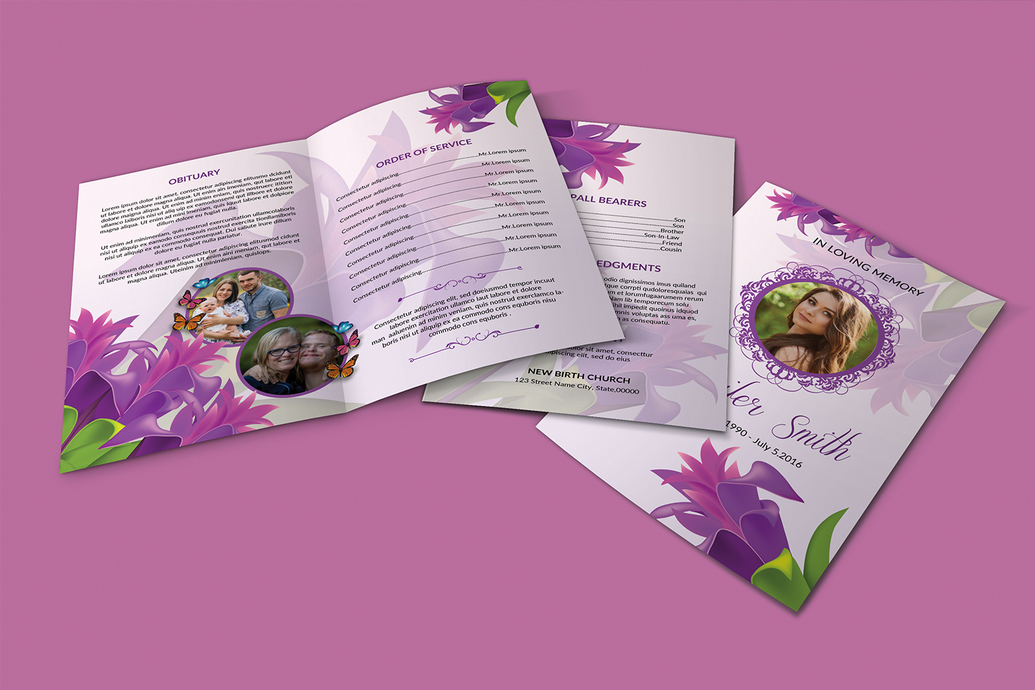 Floral Funeral Program Template example image 4