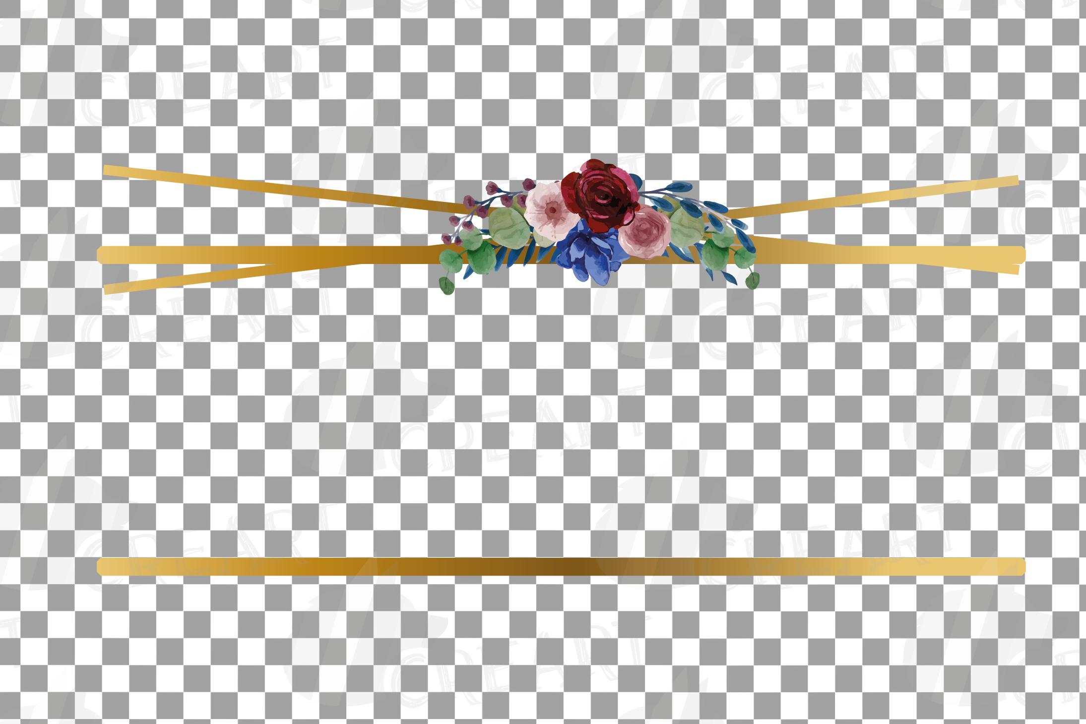 Watercolor elegant floral borders clip art. Wedding frames example image 23