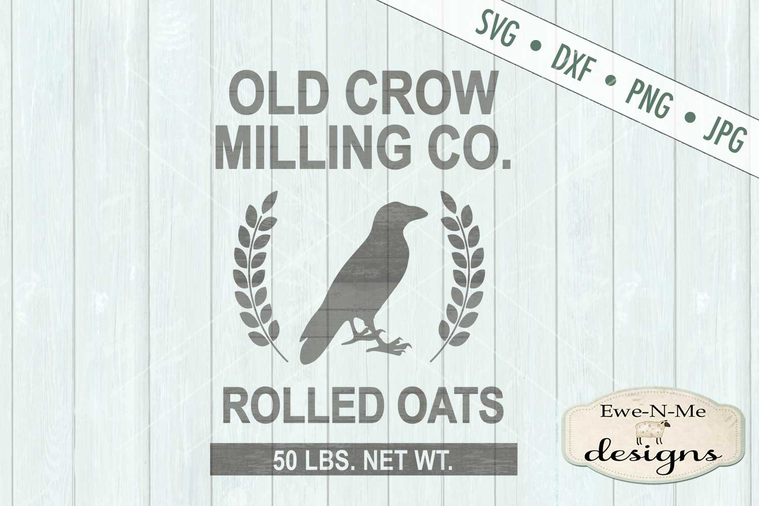 Old Crow Milling Co Rolled Oats SVG DXF Files example image 2