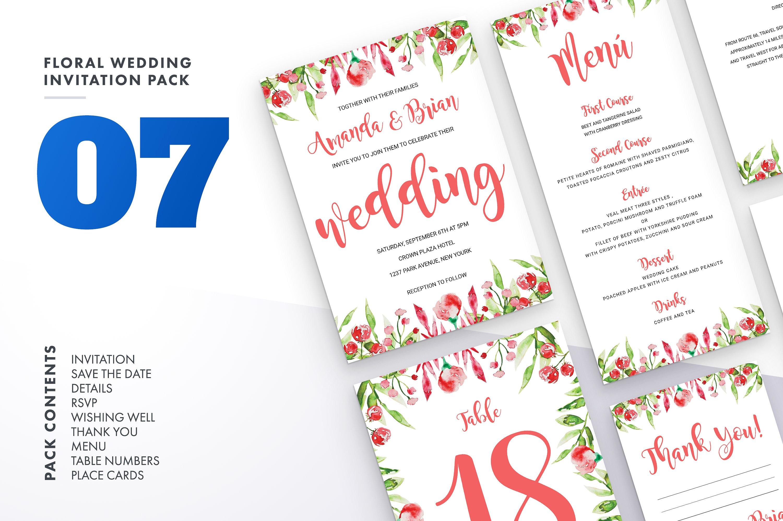Floral Wedding Invitation Bundle example image 10