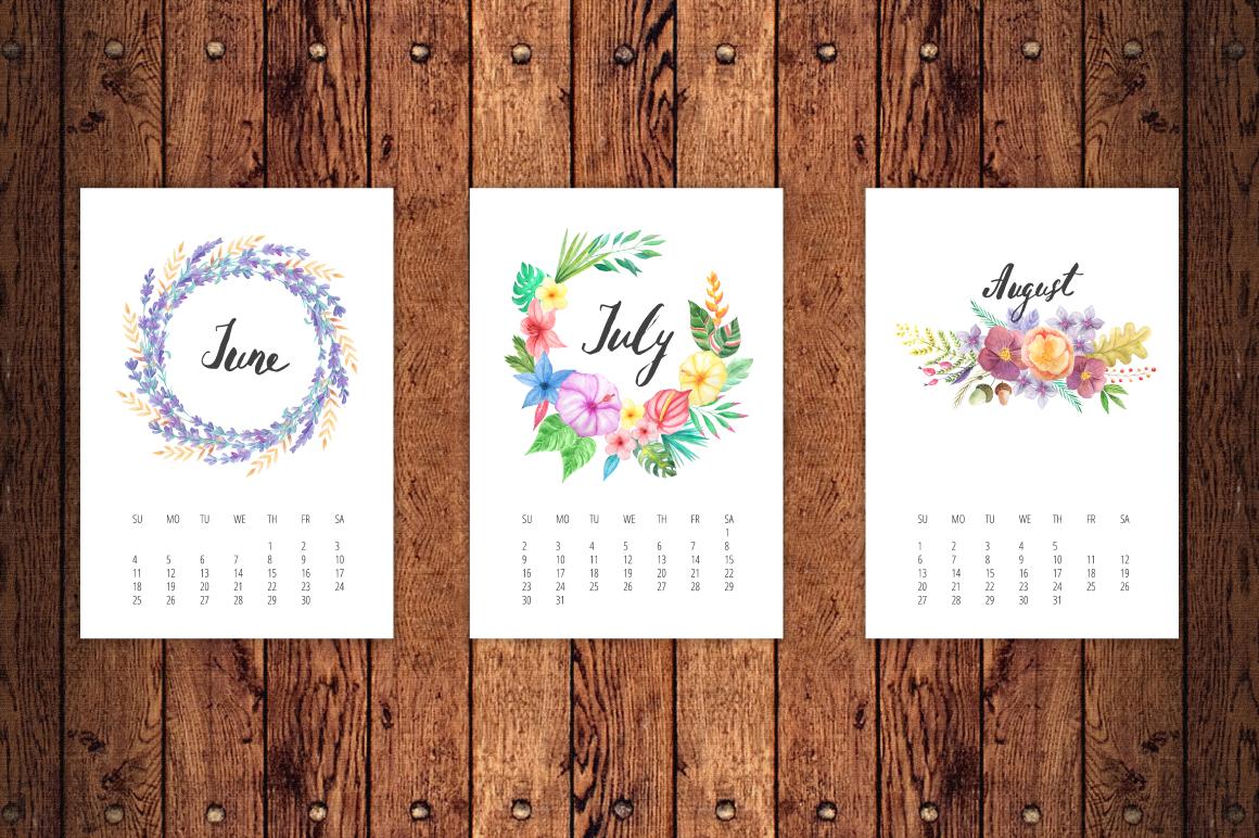 Watercolor Calendar 2017 Template example image 4
