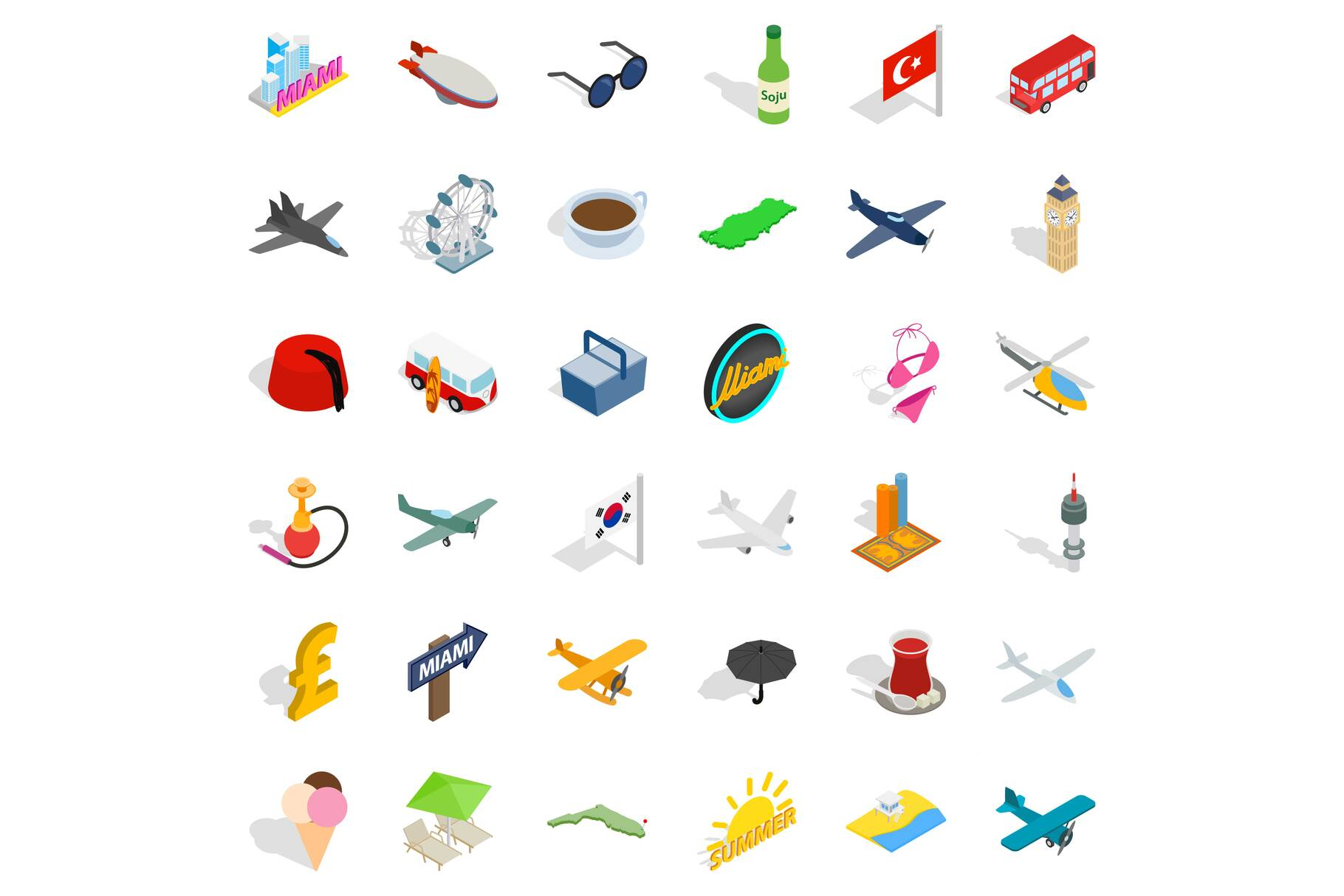 Plane travel icons set, isometric style example image 1