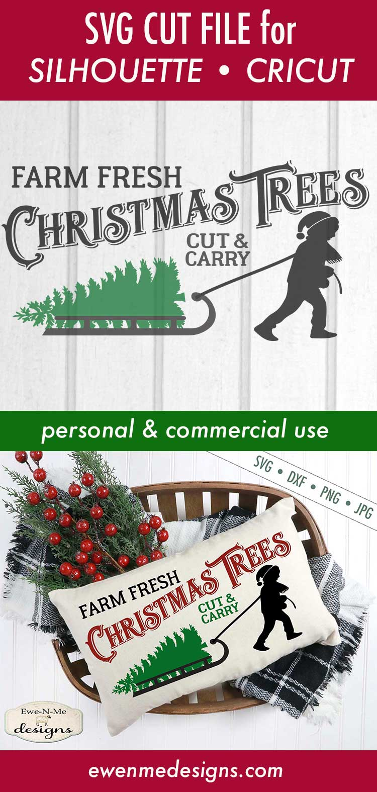Christmas Trees Boy Pulling Sled SVG DXF Files example image 4