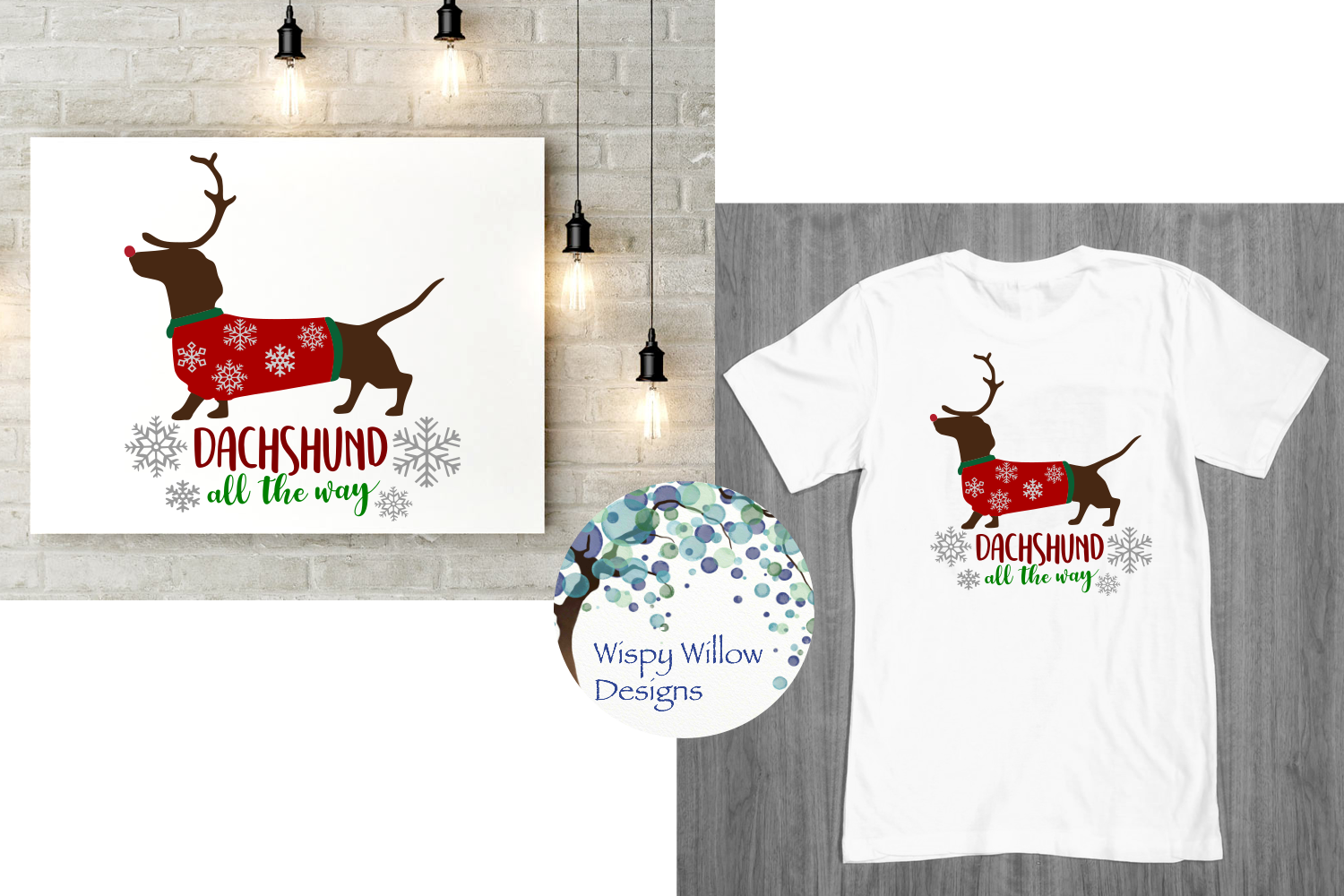 Dachshund All The Way, Christmas, Winter SVG Cut File example image 2