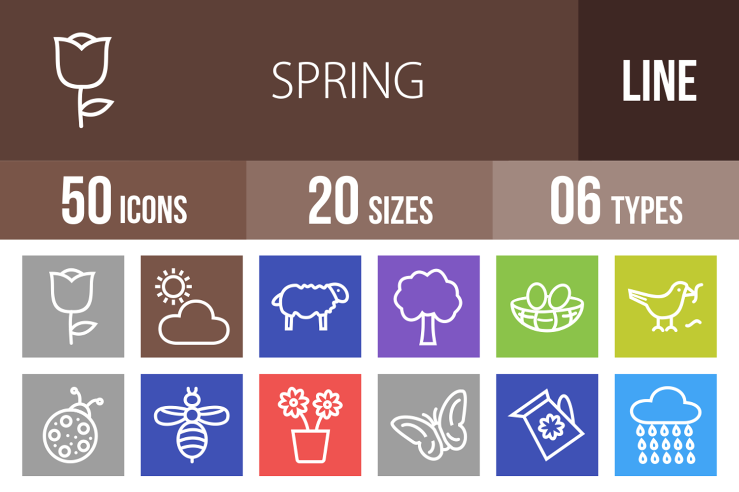 50 Spring Line Multicolor B/G Icons example image 1