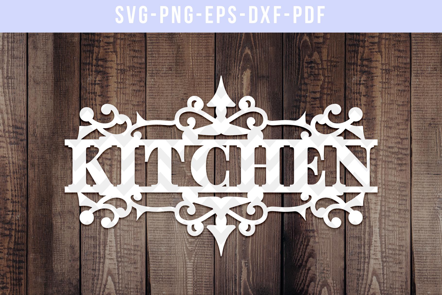 Kitchen Papercut Template, Housewarming Cut File, SVG, DXF example image 1