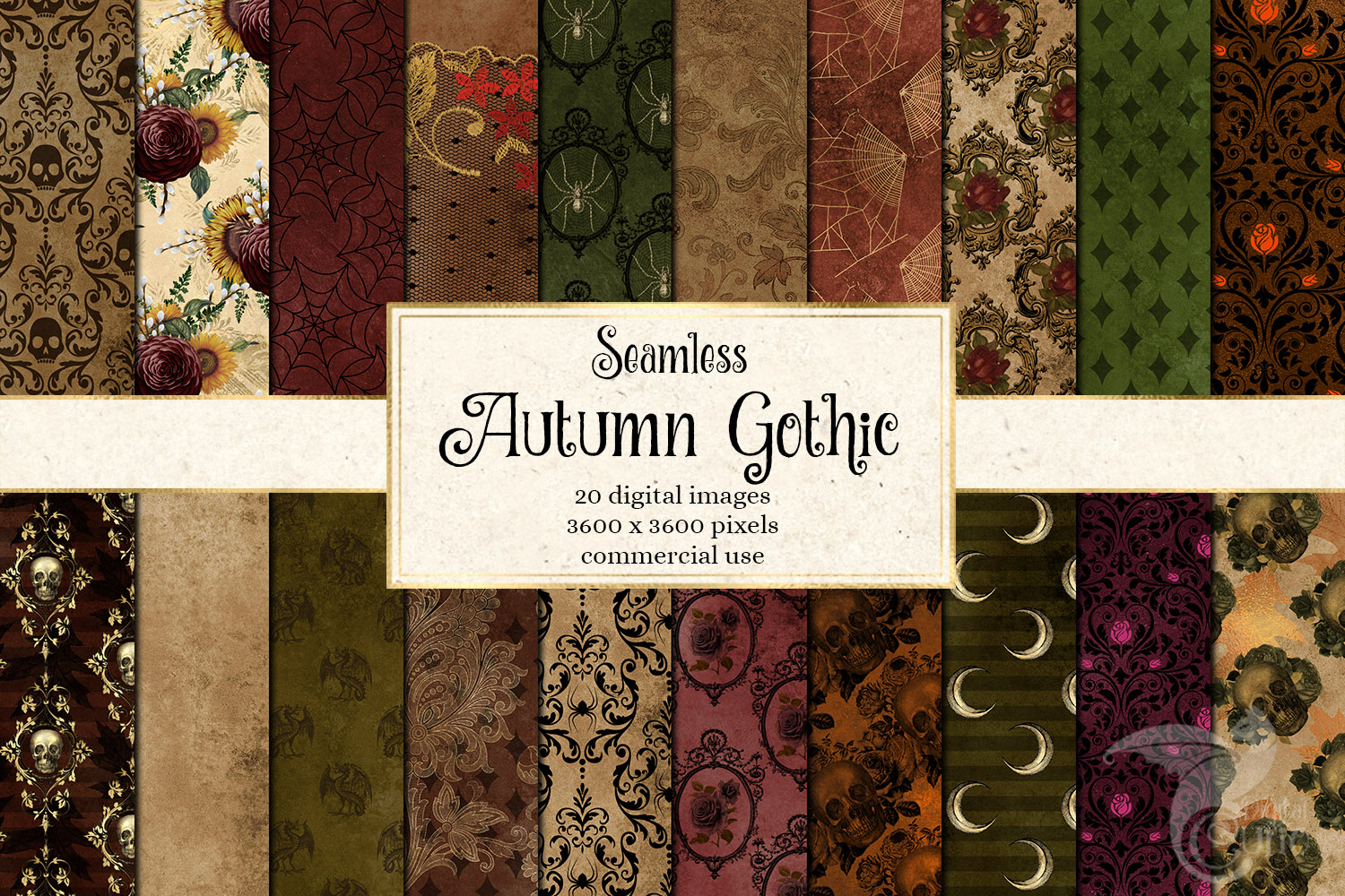 Autumn Gothic Digital Paper example image 1