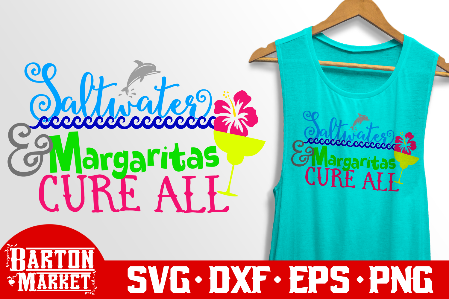 Saltwater & Margaritas Cure All SVG DXF EPS PNG example image 2