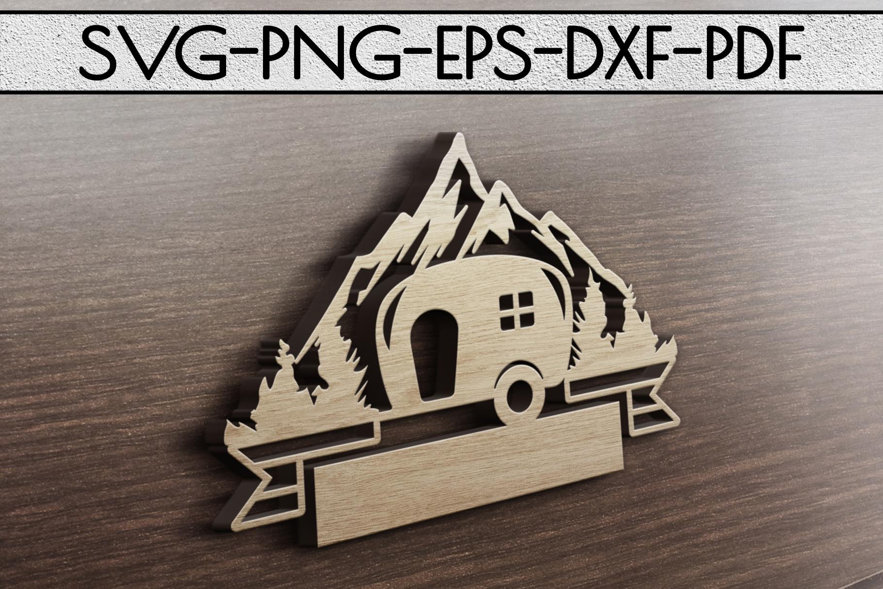 Camper Life Sign Papercut Template, Adventure Cut Files, SVG example image 3