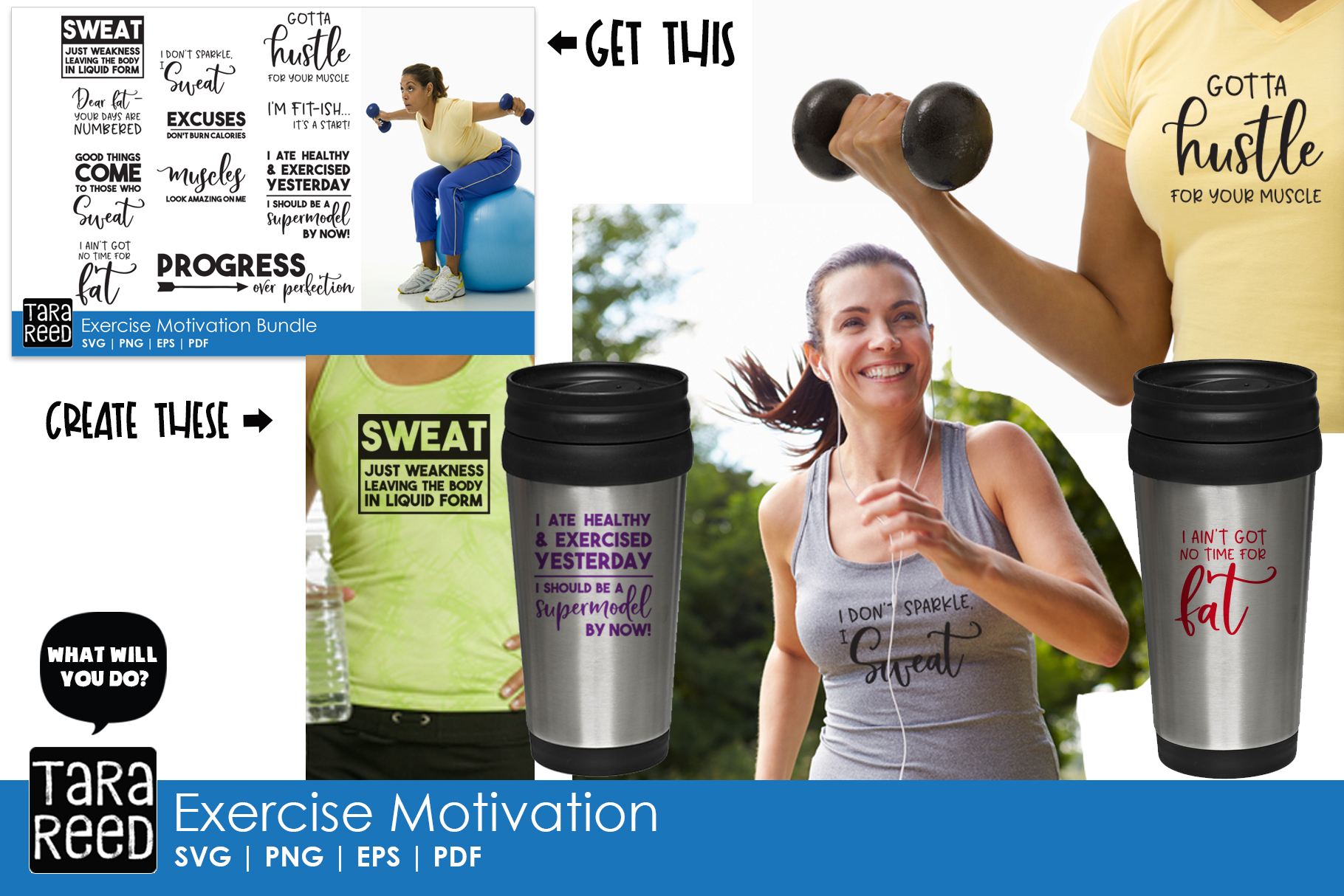 Exercise Motivation - Fitness SVG and Cut Files for Crafter example image 3