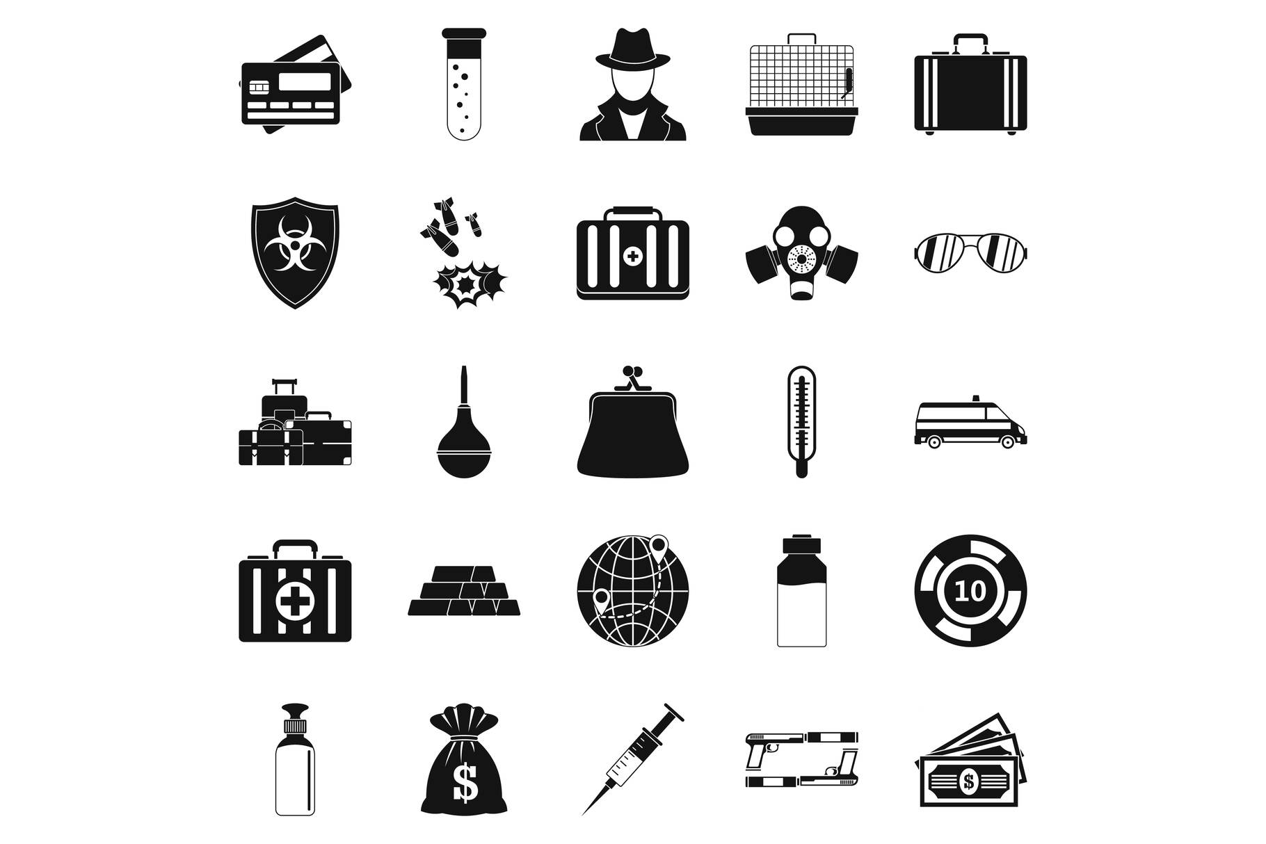Investigation icons set, simple style example image 1
