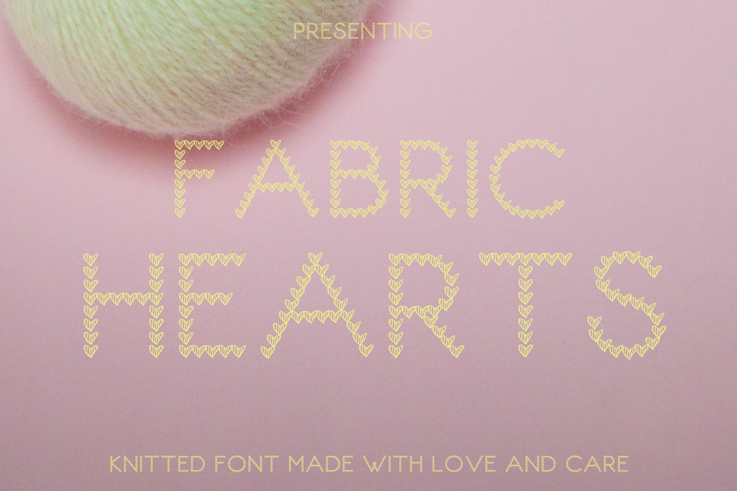 Fabric Heart Single Knitted Font example image 1