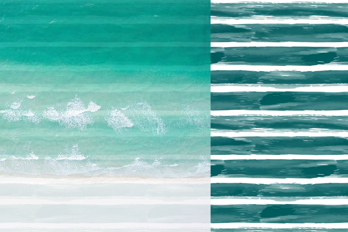 10 Stripes and Strokes Patterns with hand drawn watercolor brush strokes. example image 2