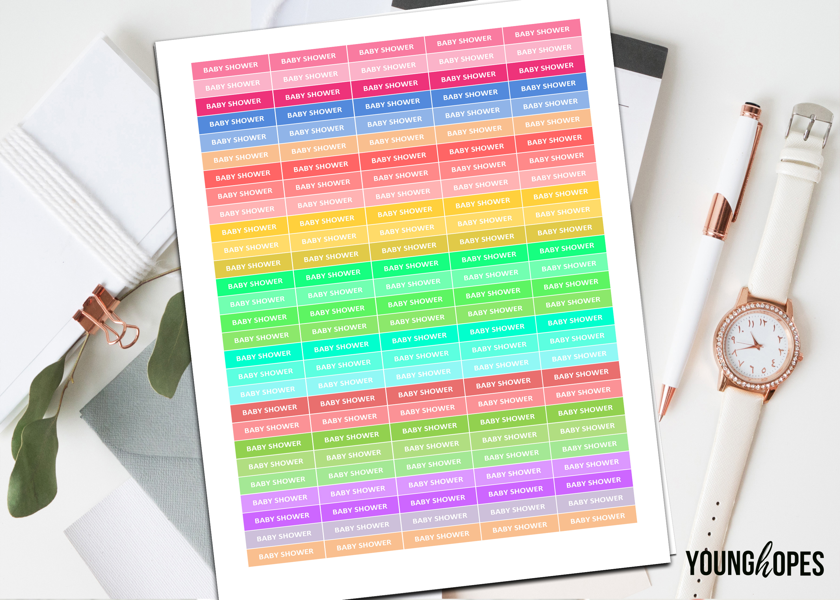 Baby Shower Printable Planner Stickers example image 1