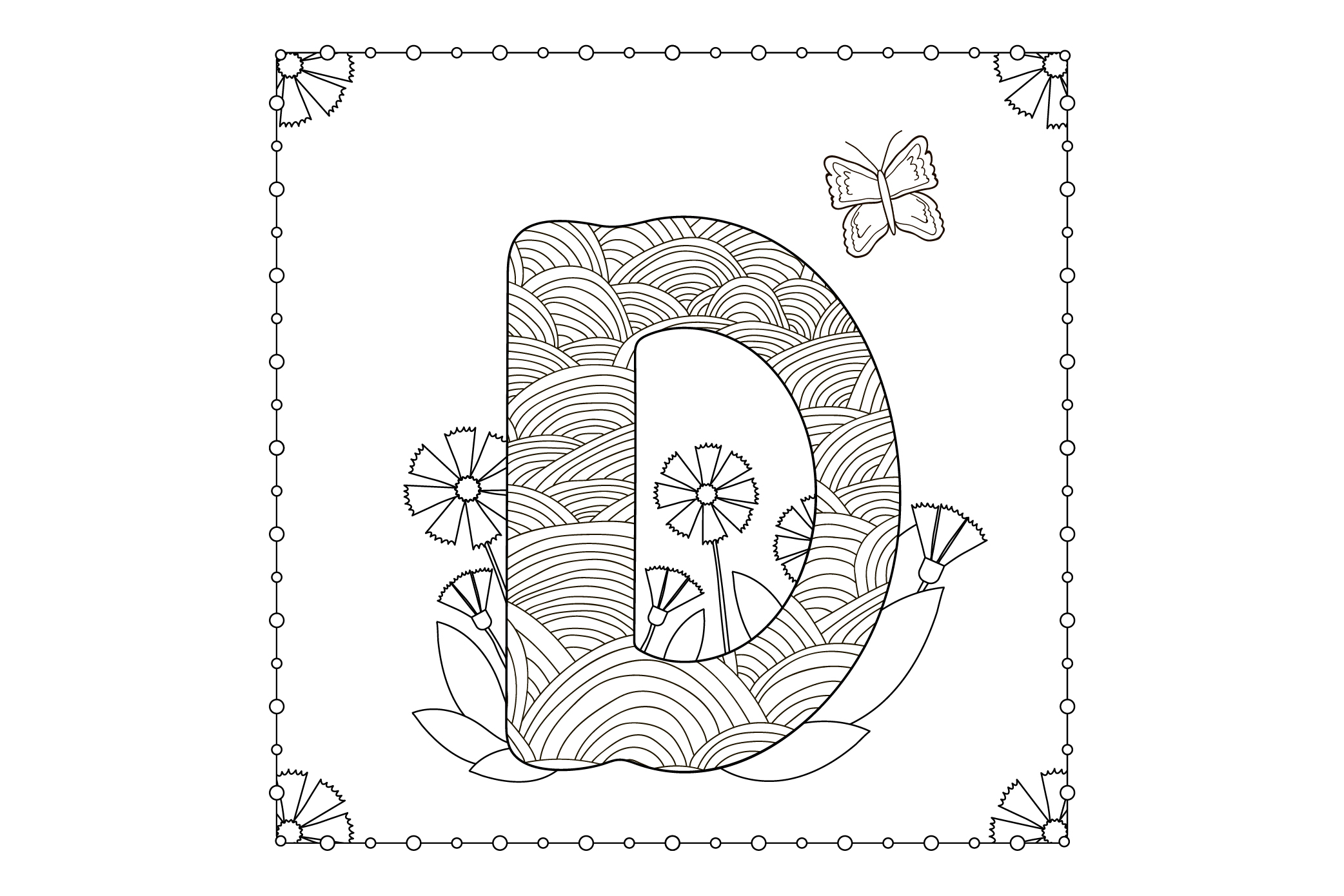 Letter D. Flowers. Coloring page. example image 1