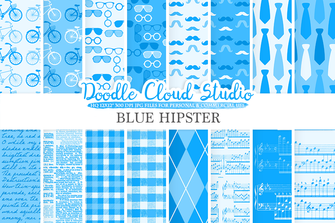 Blue Hipster digital paper, Vintage Father's day tie mustaches bikes music glasses plaid pattern, Instant Download Personal & Commercial Use example image 1