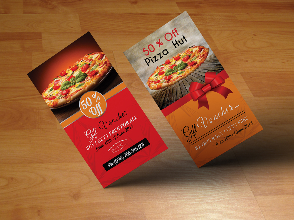 Vertical Pizza Restuarant Gift Vouchers example image 1