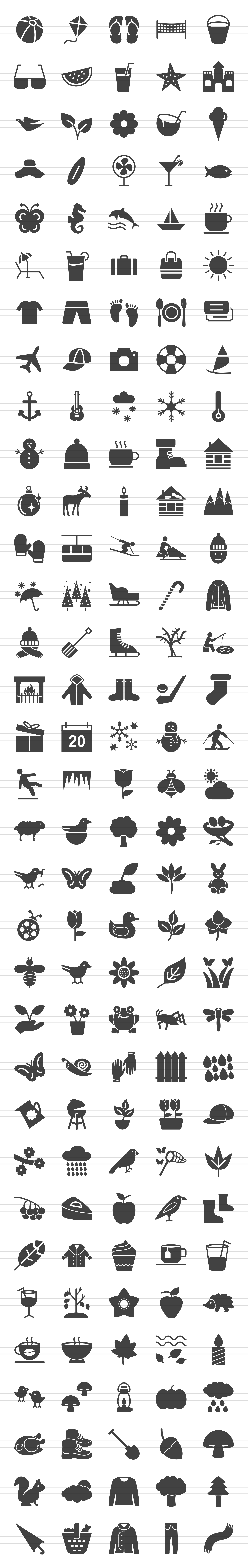166 Four Seasons Glyph Icons example image 2