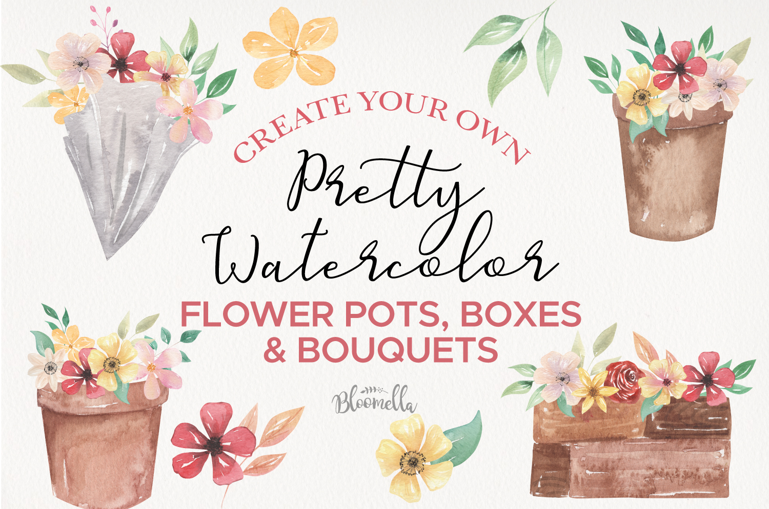 Watercolor Create Your Own - Flower Pots Boxes Bouquets example image 1