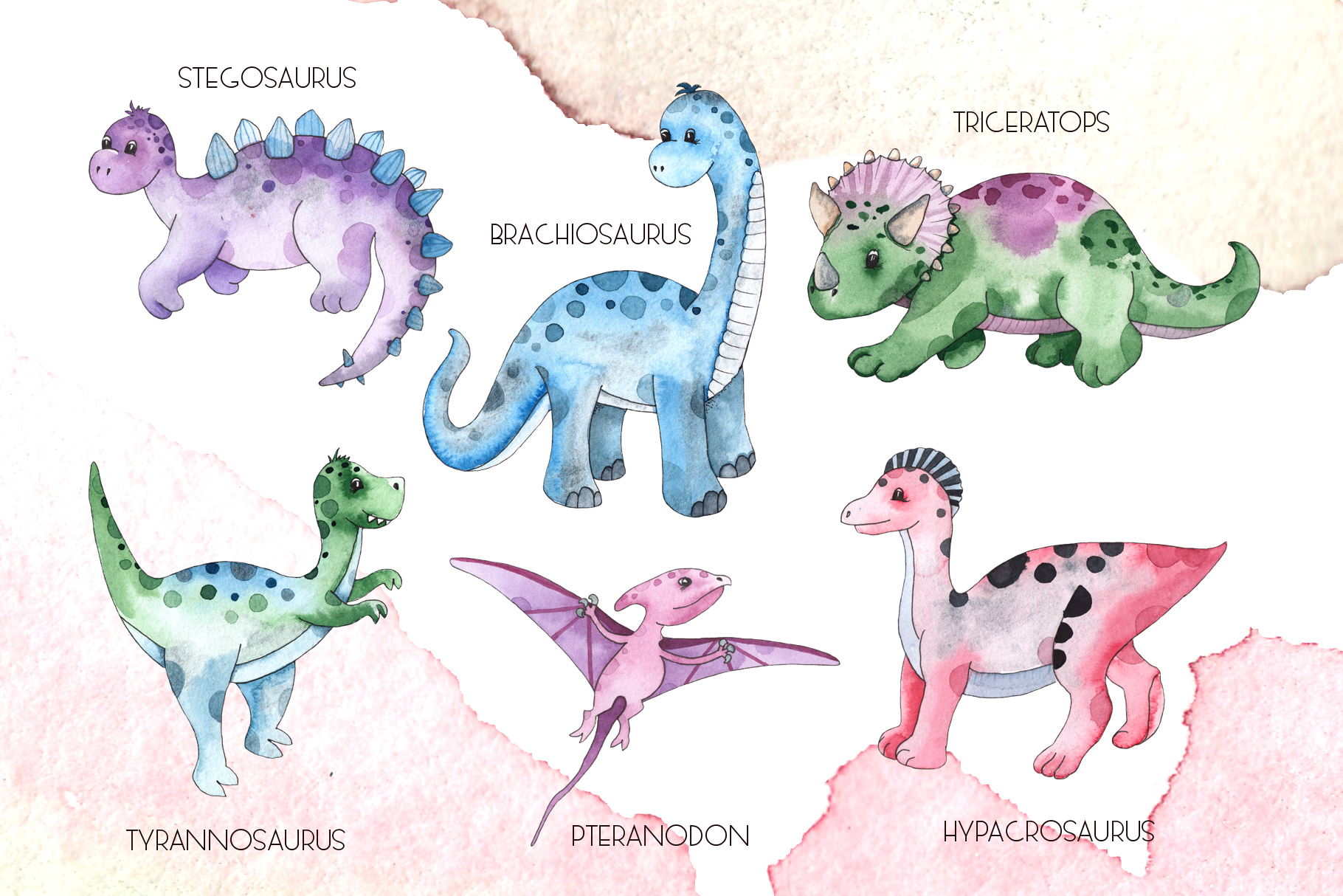 Dinosaurs. Watercolor clipart example image 2