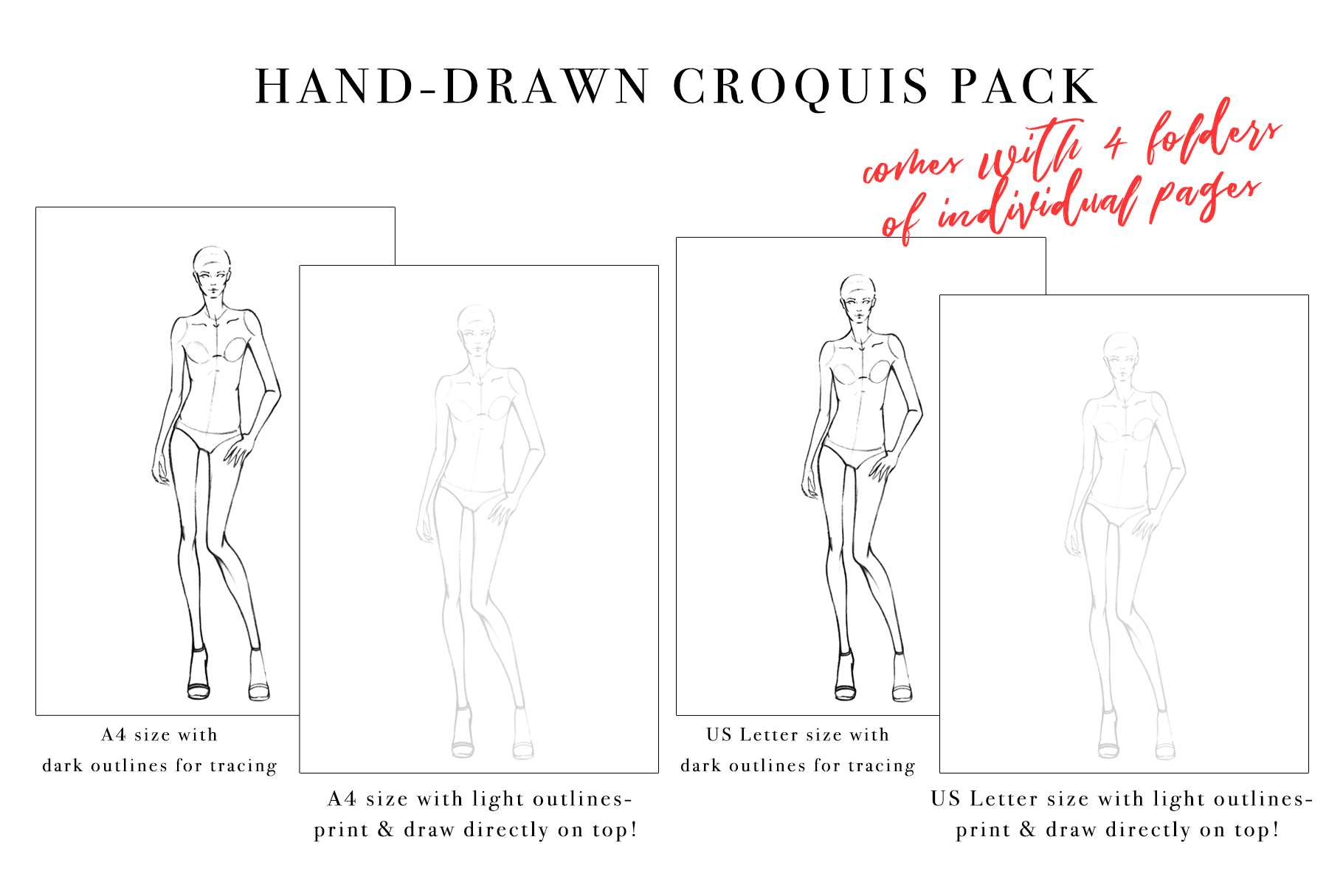 Female Figure Croquis Pack for Fashion Illustration example image 2