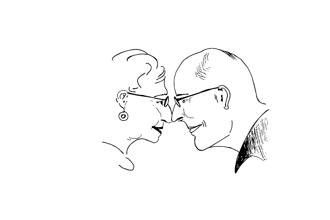 Hand drawn happy old people example image 1