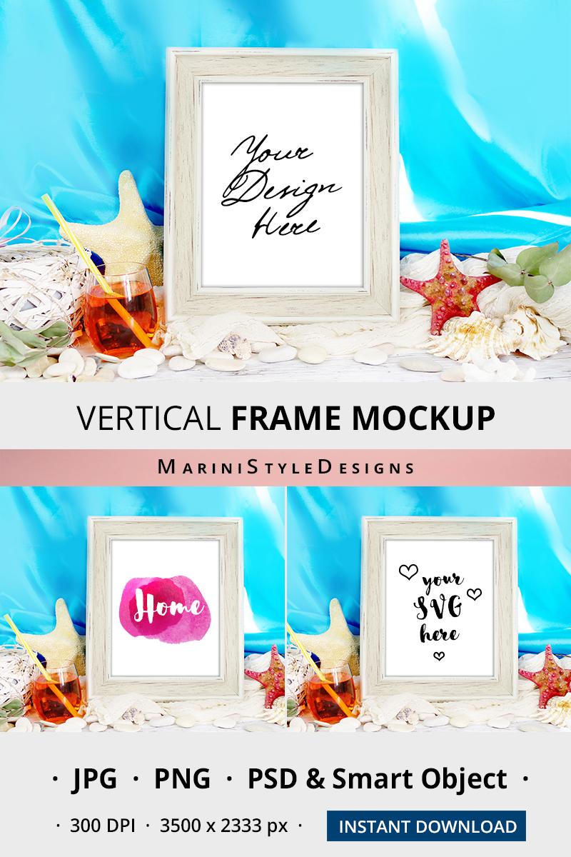 8x10 Summer Frame mockup, vertical frame mockup on Beach 964 example image 2