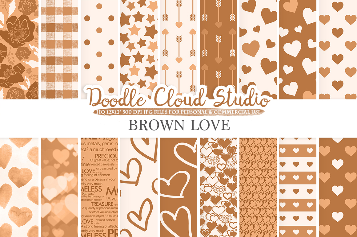 Brown Romantic digital paper, Valentine's day patterns  Love Roses Romance Heart Bokeh background Instant Download Personal & Commercial Use example image 1