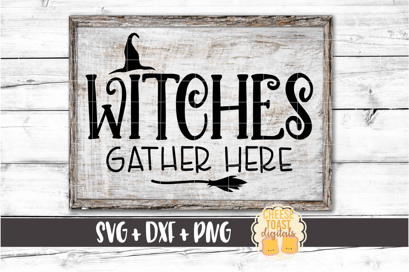 Witches Gather Here - Halloween Sign SVG PNG DXF Cut Files example image 1
