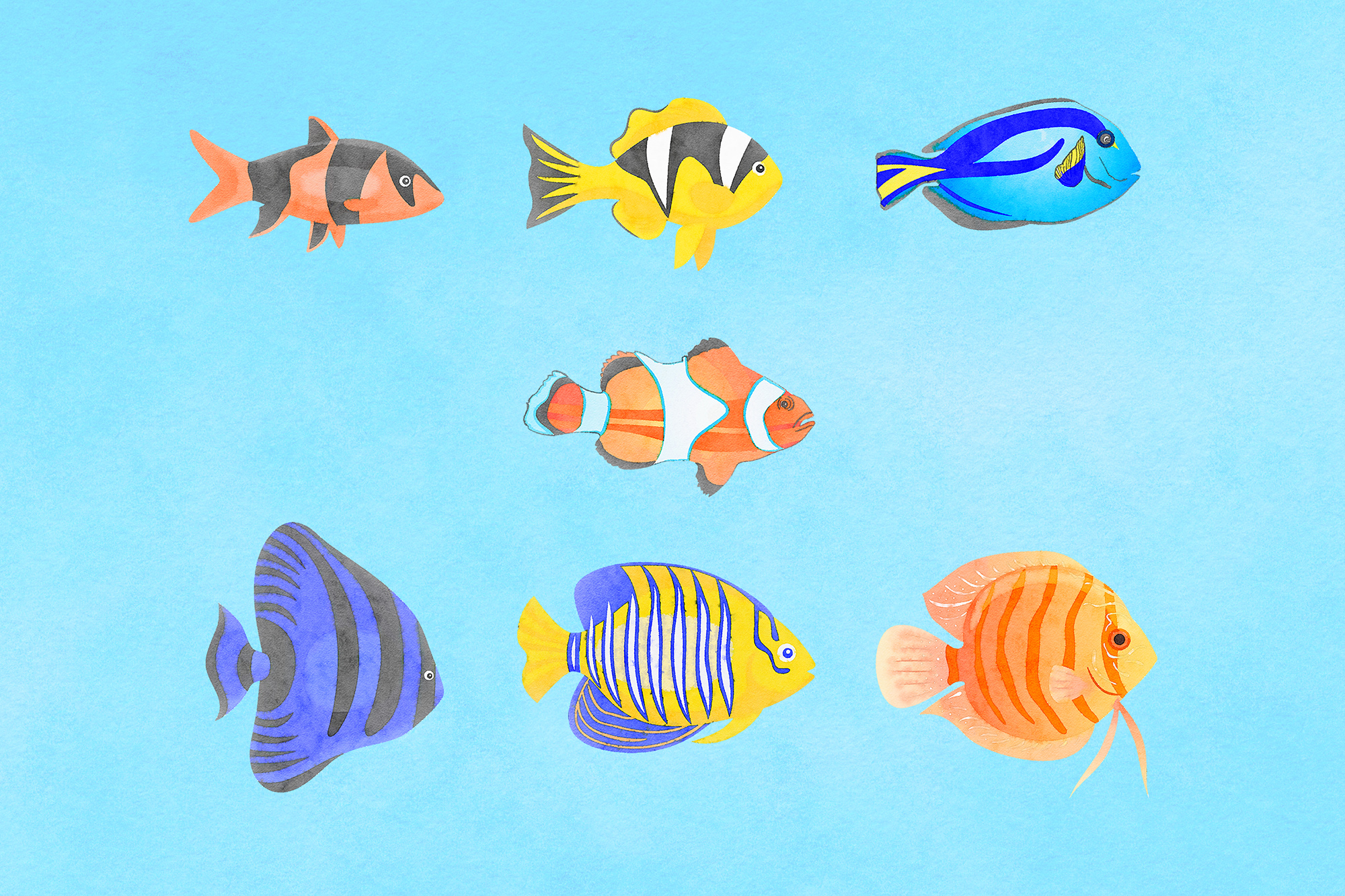 Watercolor Fish Clipart example image 2